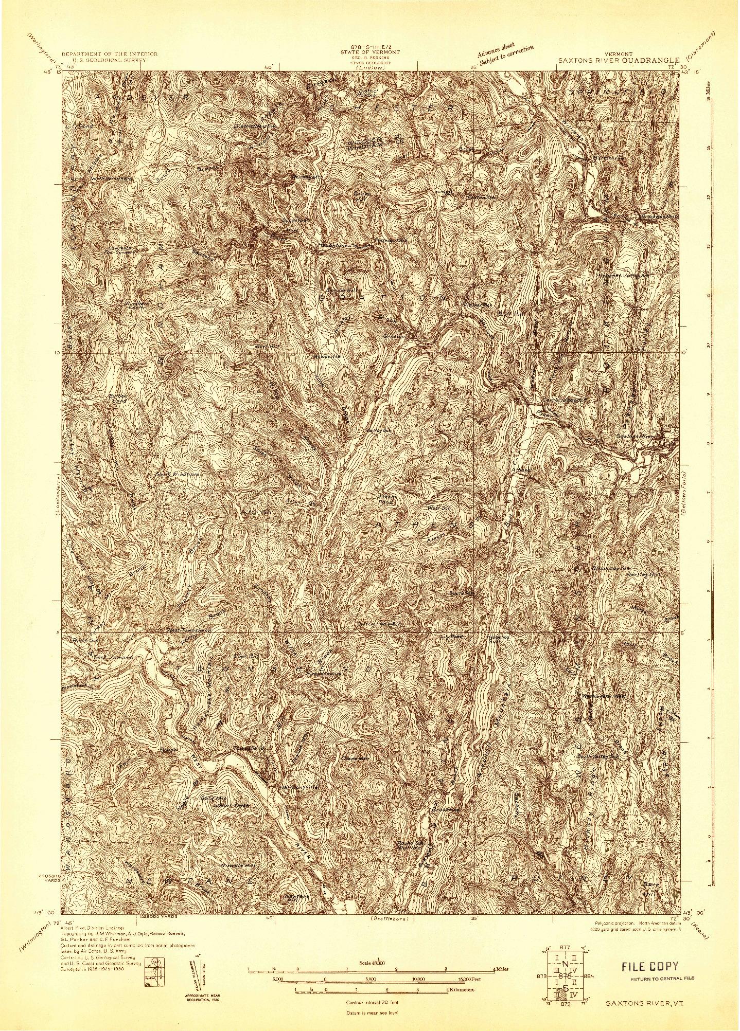 USGS 1:48000-SCALE QUADRANGLE FOR SAXTONS RIVER, VT 1930