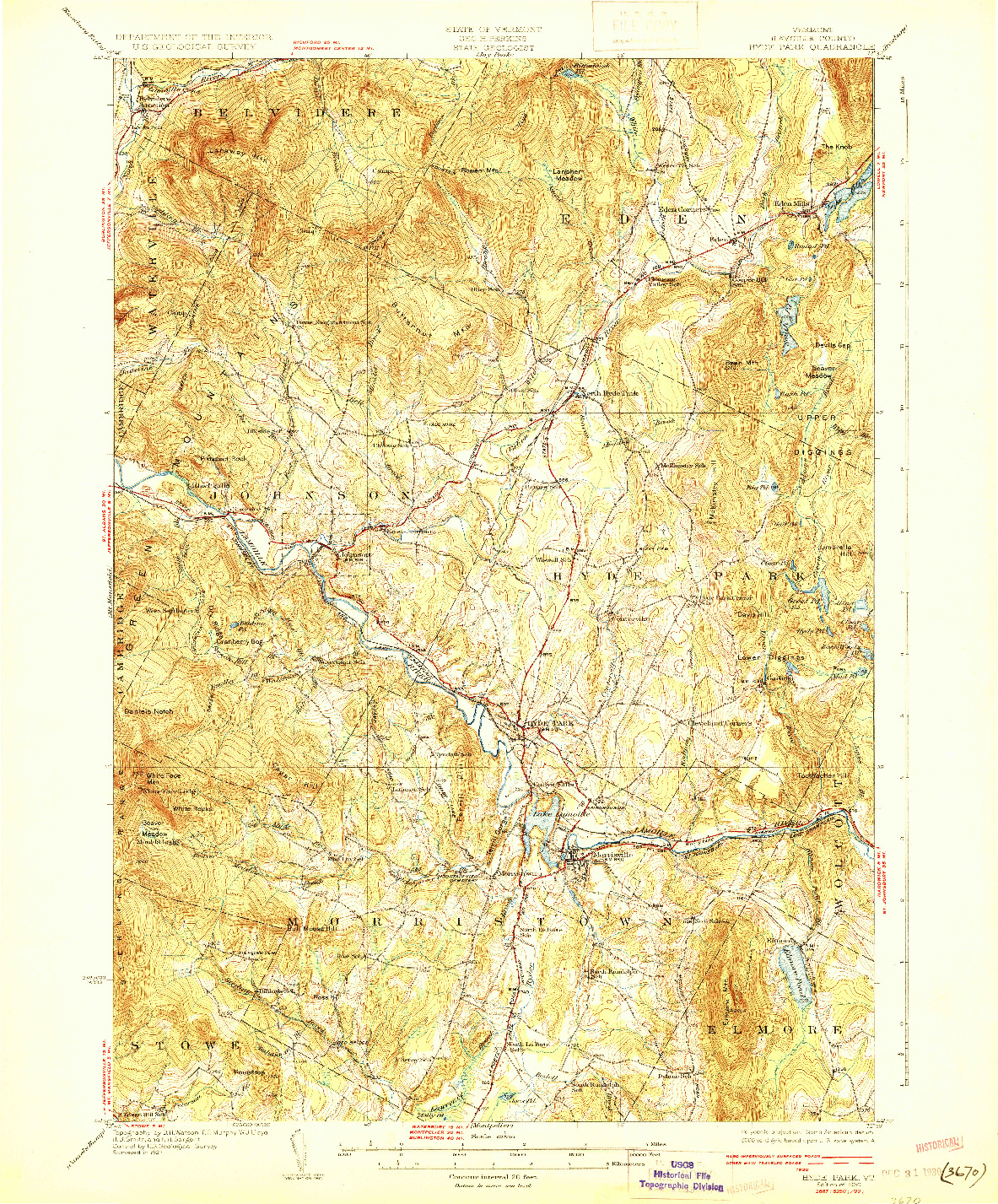 USGS 1:62500-SCALE QUADRANGLE FOR HYDE PARK, VT 1930