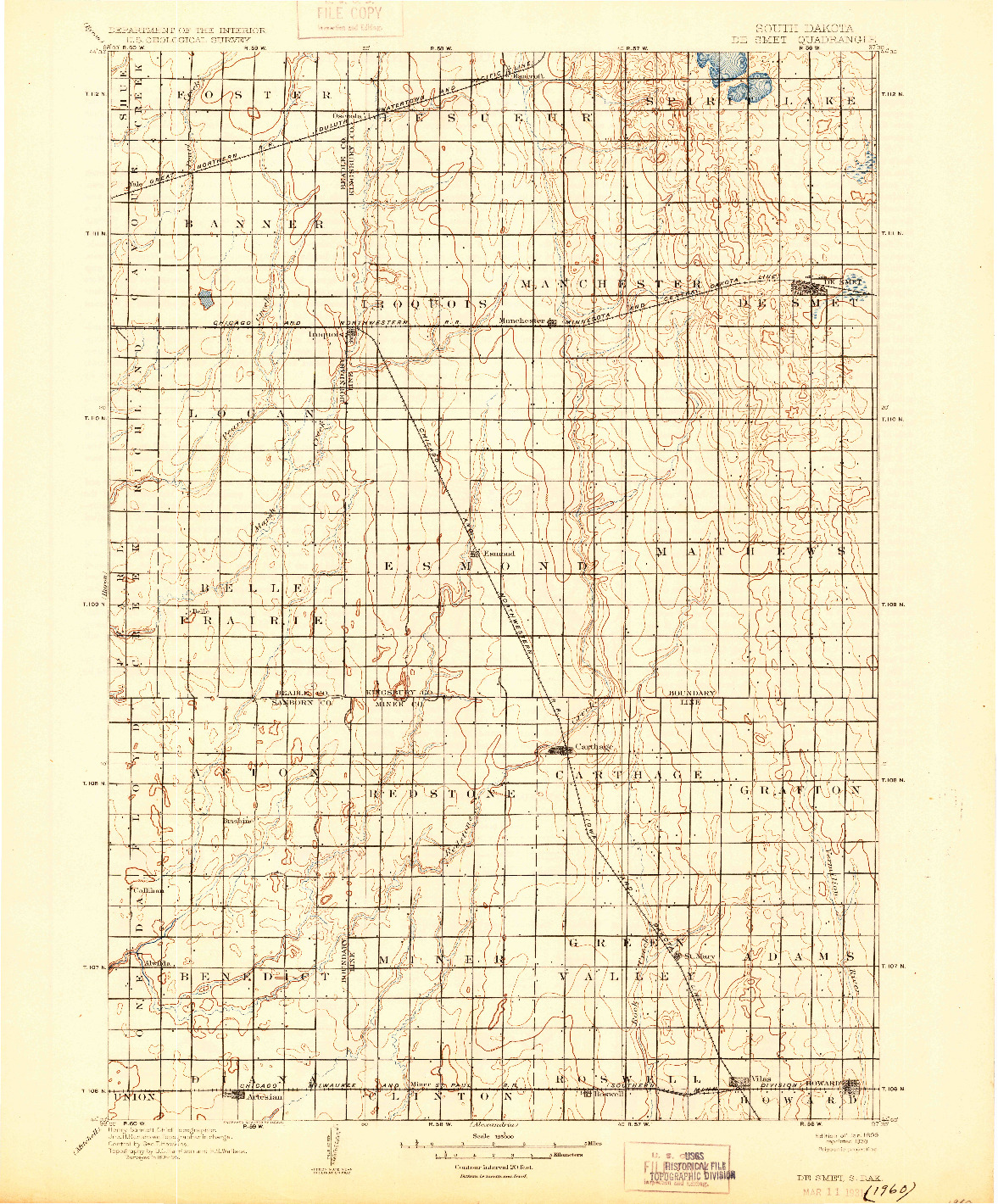 USGS 1:125000-SCALE QUADRANGLE FOR DE SMET, SD 1899