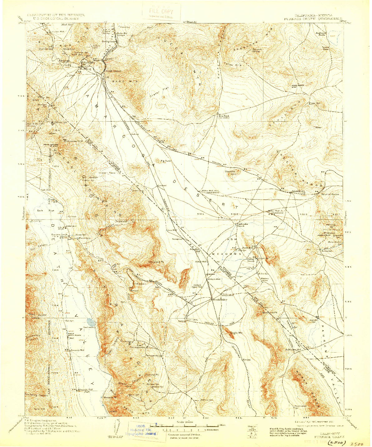 USGS 1:250000-SCALE QUADRANGLE FOR FURNACE CREEK, CA 1910