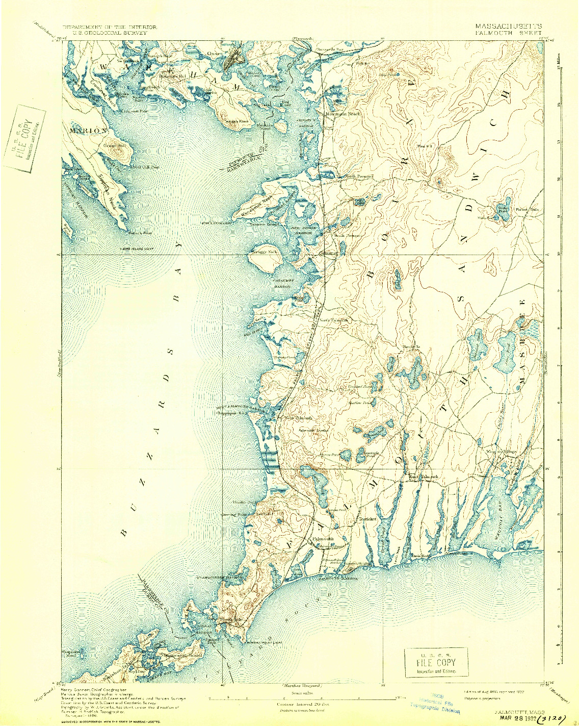 USGS 1:62500-SCALE QUADRANGLE FOR FALMOUTH, MA 1893
