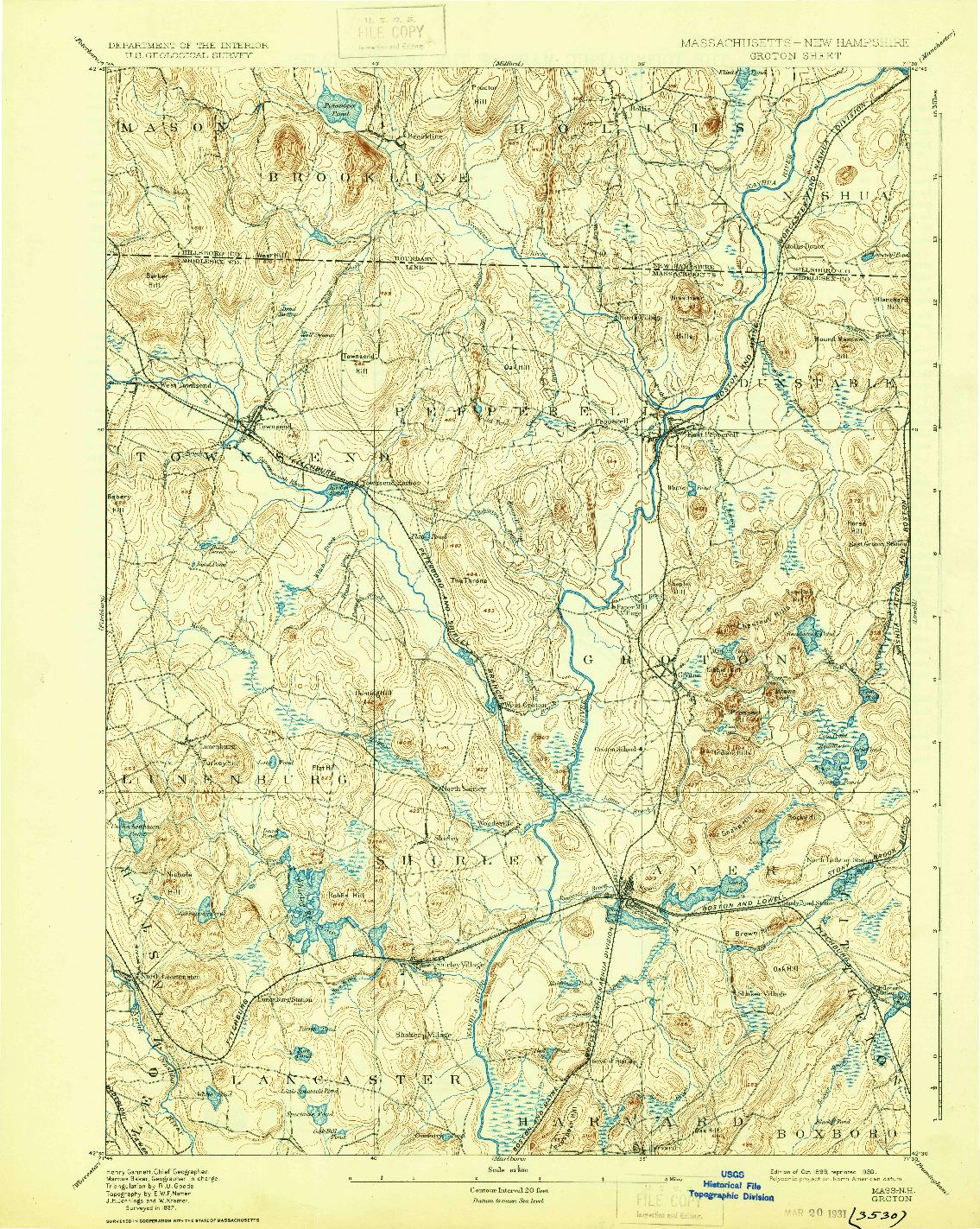 USGS 1:62500-SCALE QUADRANGLE FOR GROTON, MA 1893