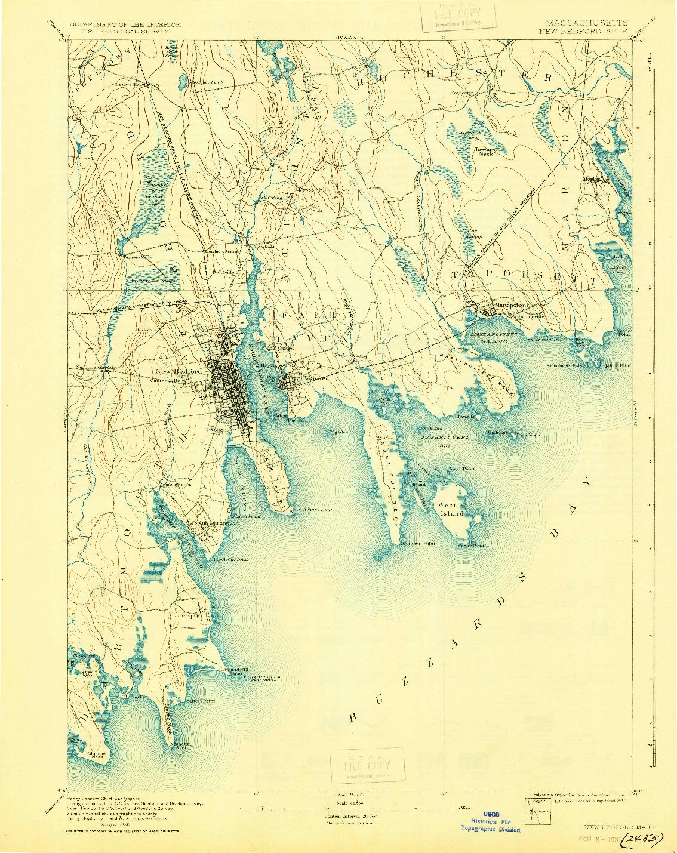 USGS 1:62500-SCALE QUADRANGLE FOR NEW BEDFORD, MA 1893