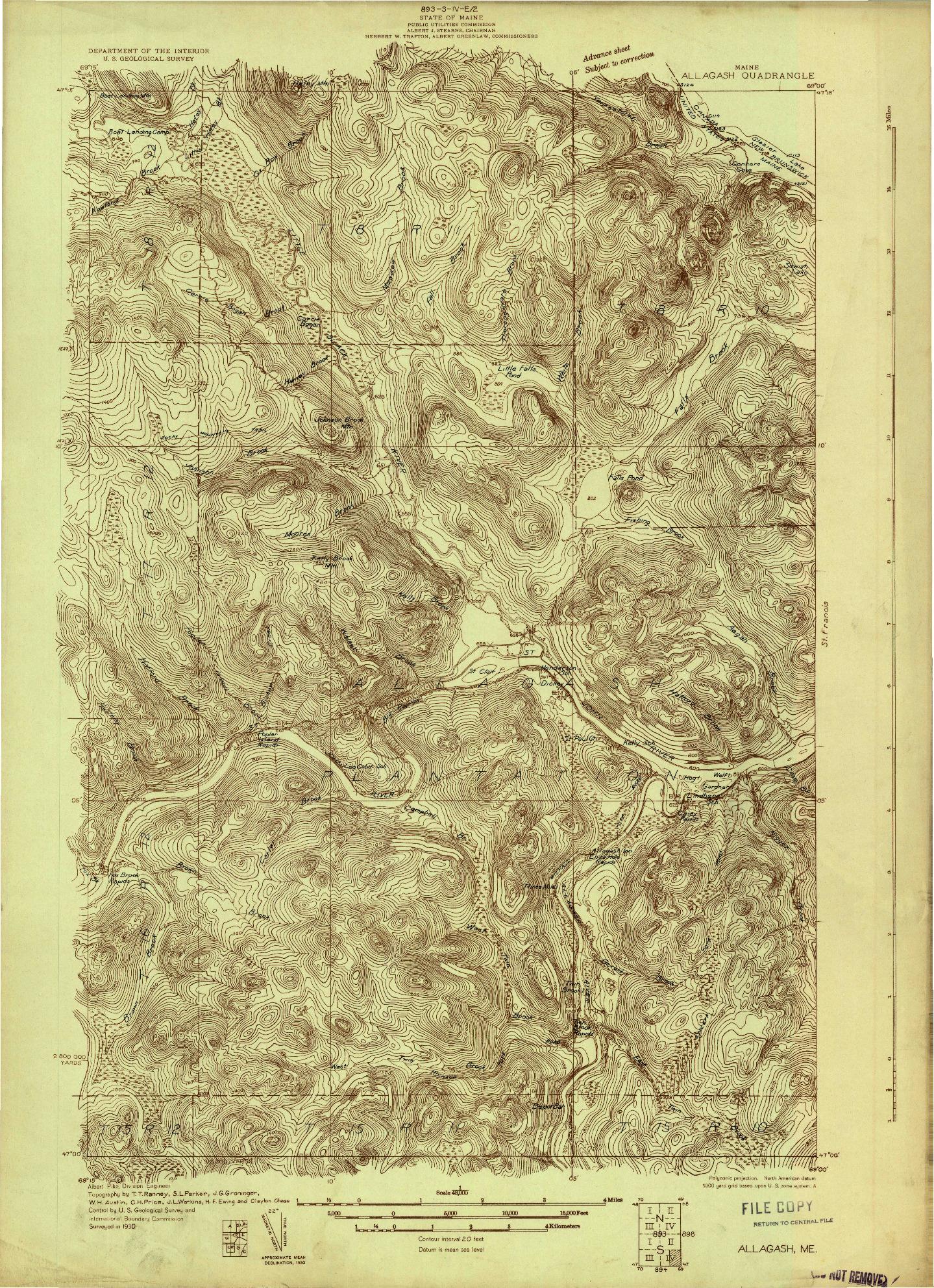 USGS 1:48000-SCALE QUADRANGLE FOR ALLAGASH, ME 1930