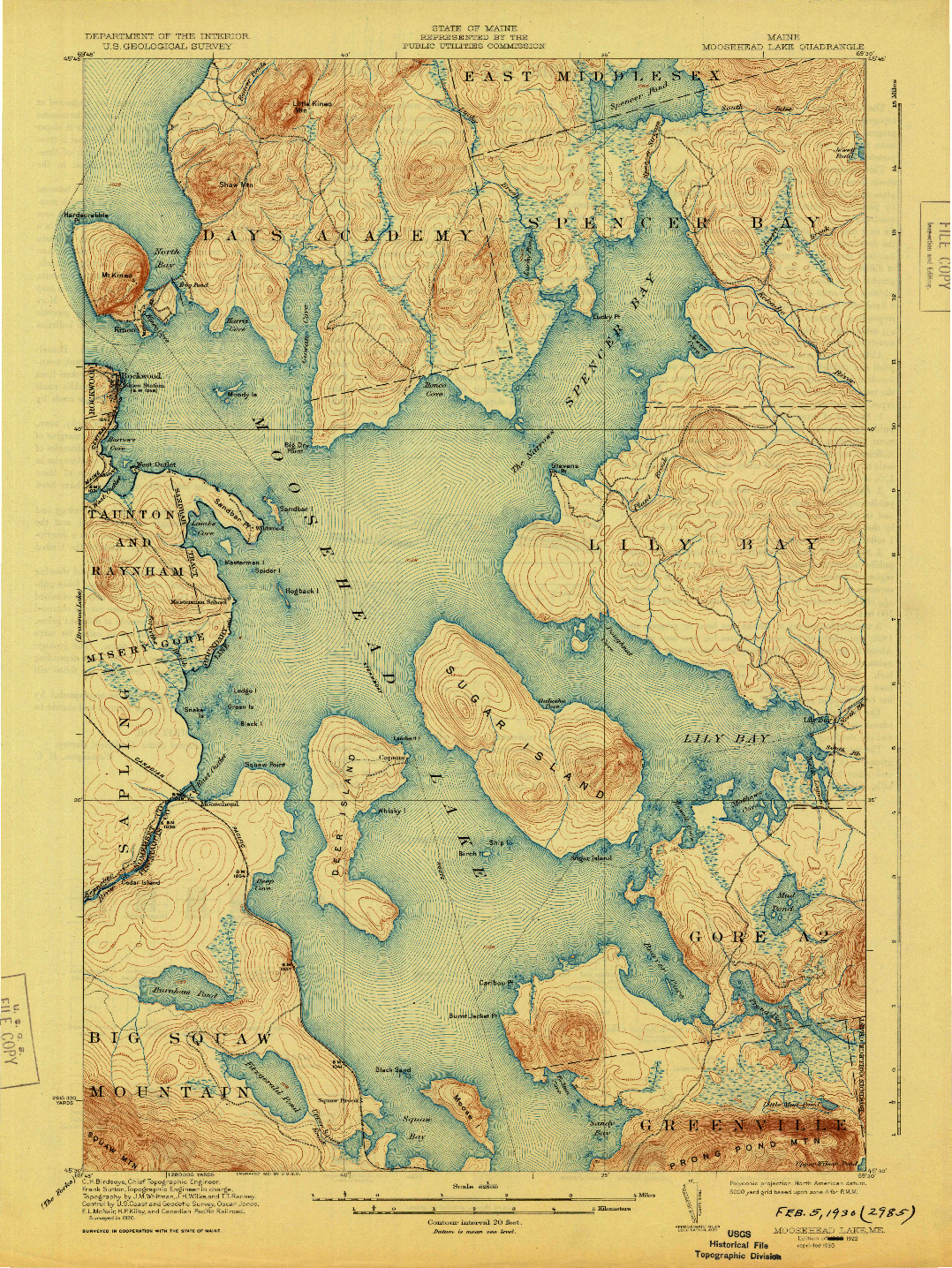USGS 1:62500-SCALE QUADRANGLE FOR MOOSEHEAD LAKE, ME 1922