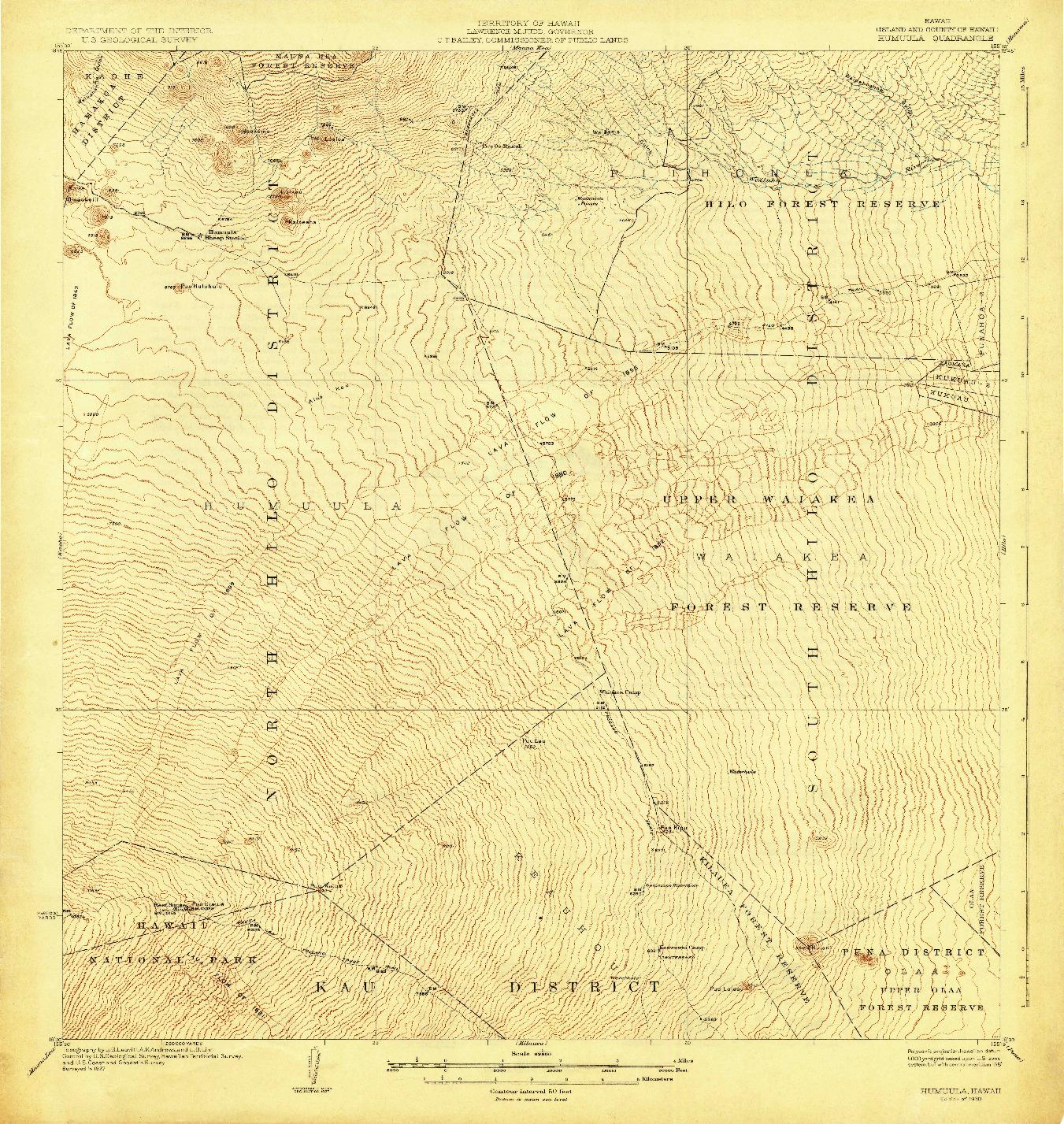 USGS 1:62500-SCALE QUADRANGLE FOR HUMUULA, HI 1930