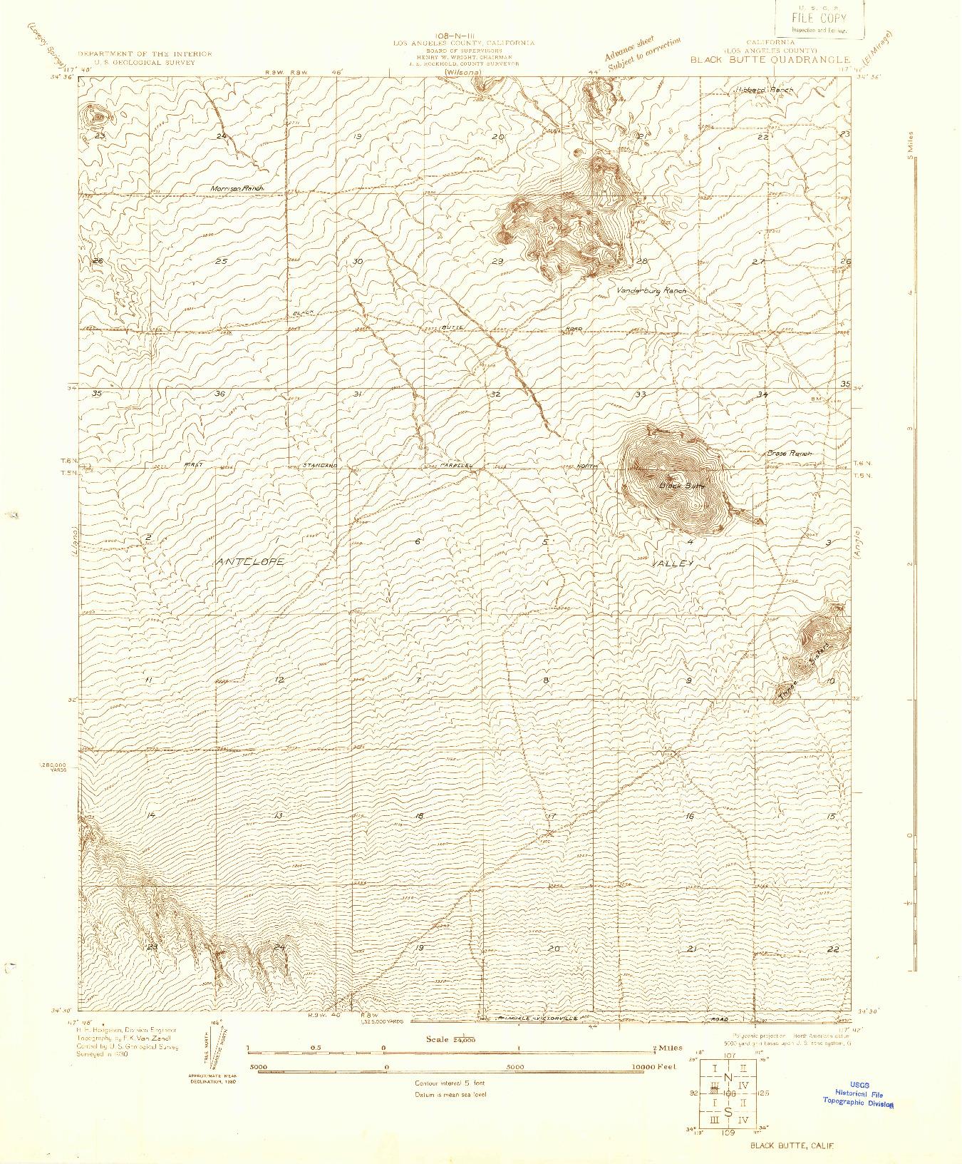 USGS 1:24000-SCALE QUADRANGLE FOR BLACK BUTTE, CA 1930
