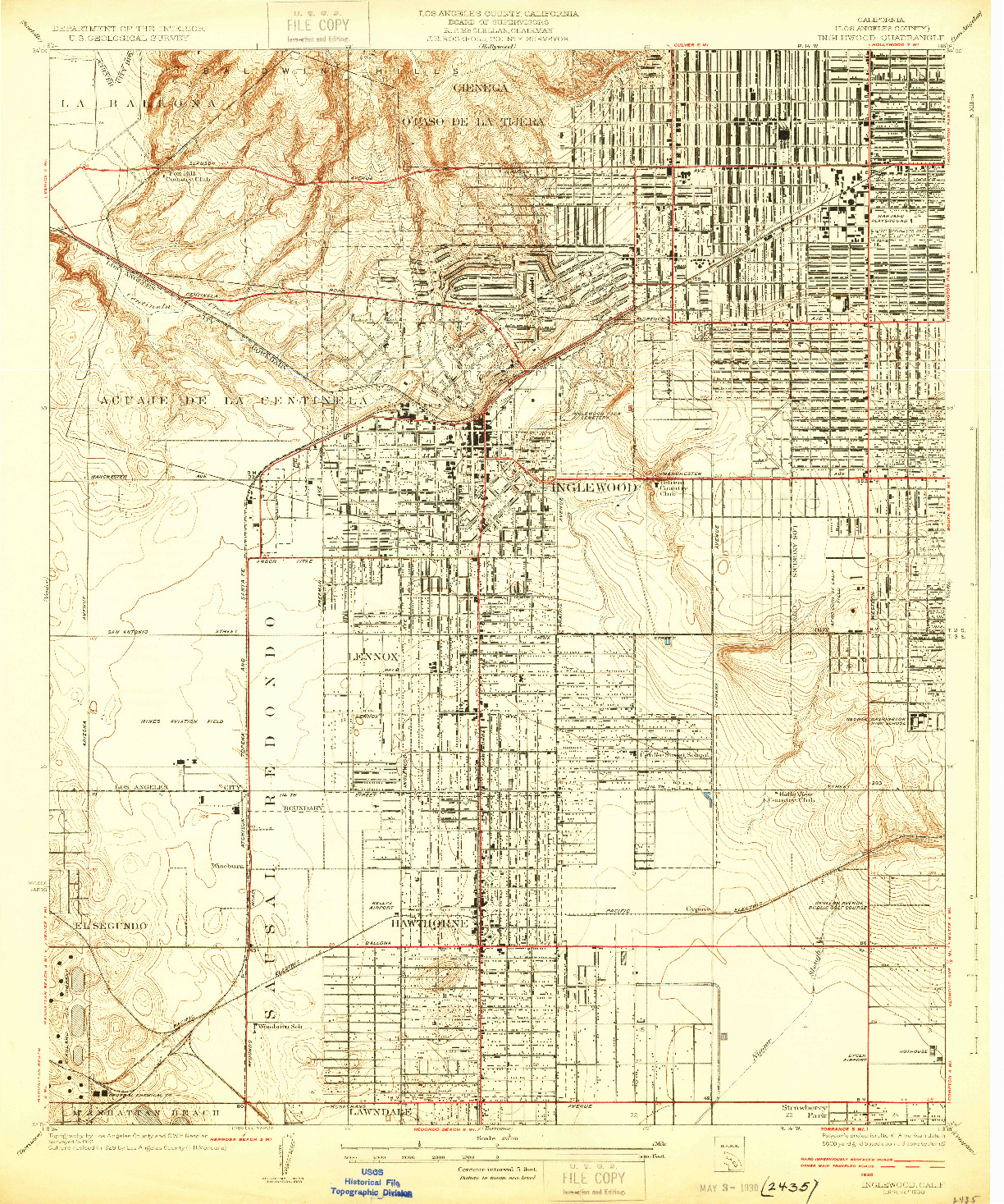 USGS 1:24000-SCALE QUADRANGLE FOR INGLEWOOD, CA 1930