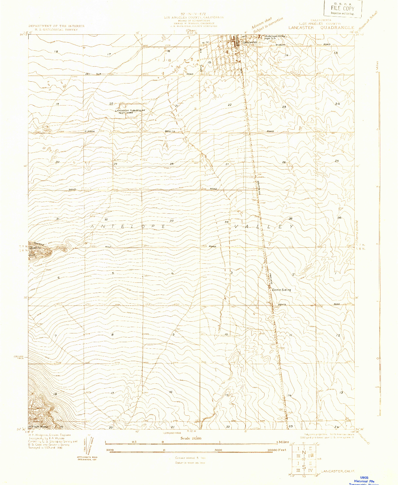 USGS 1:24000-SCALE QUADRANGLE FOR LANCASTER, CA 1930