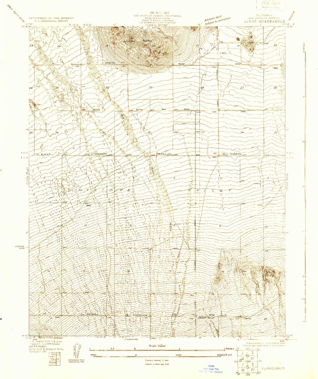 USGS 1:24000-SCALE QUADRANGLE FOR LLANO, CA 1930