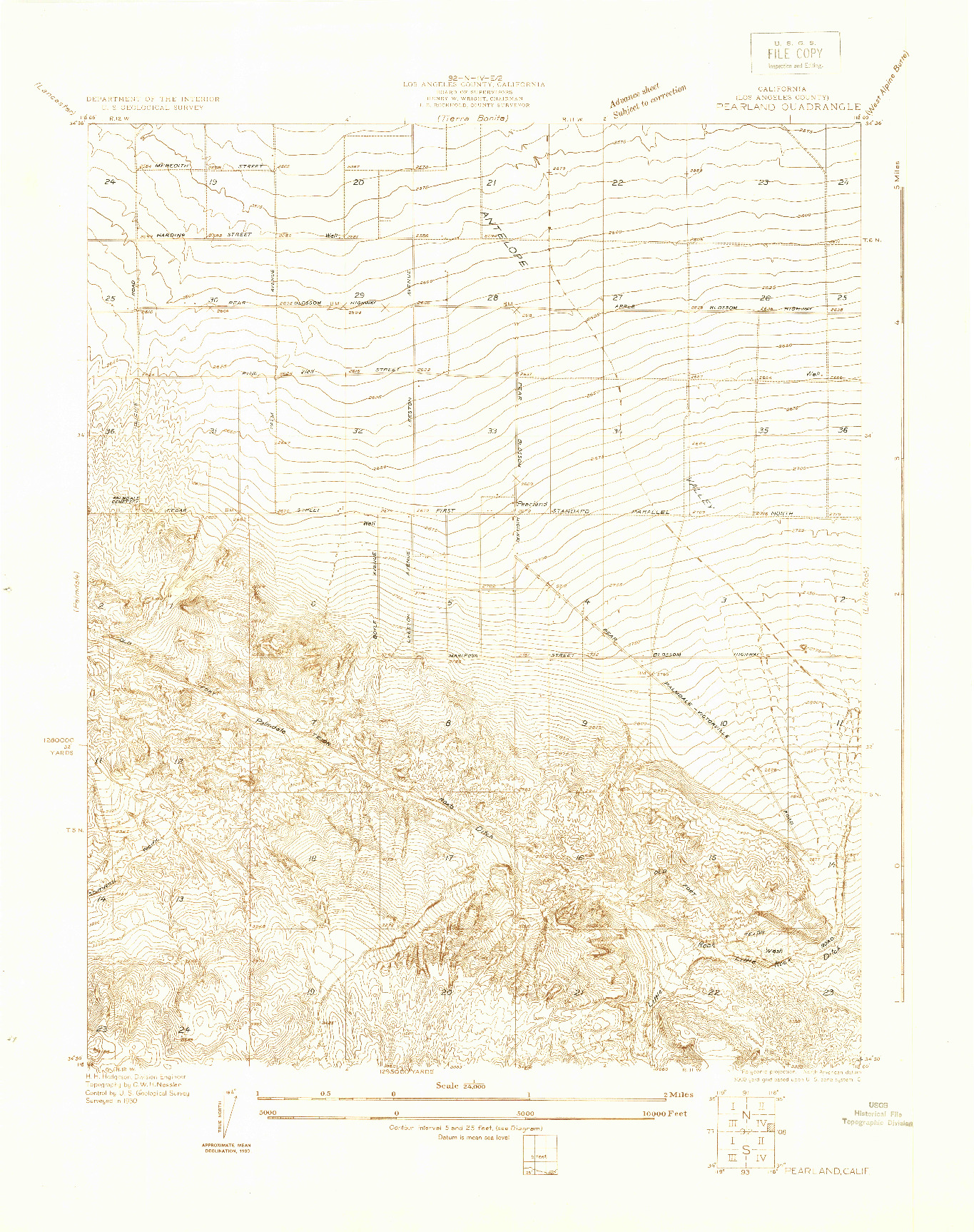 USGS 1:24000-SCALE QUADRANGLE FOR PEARLAND, CA 1930