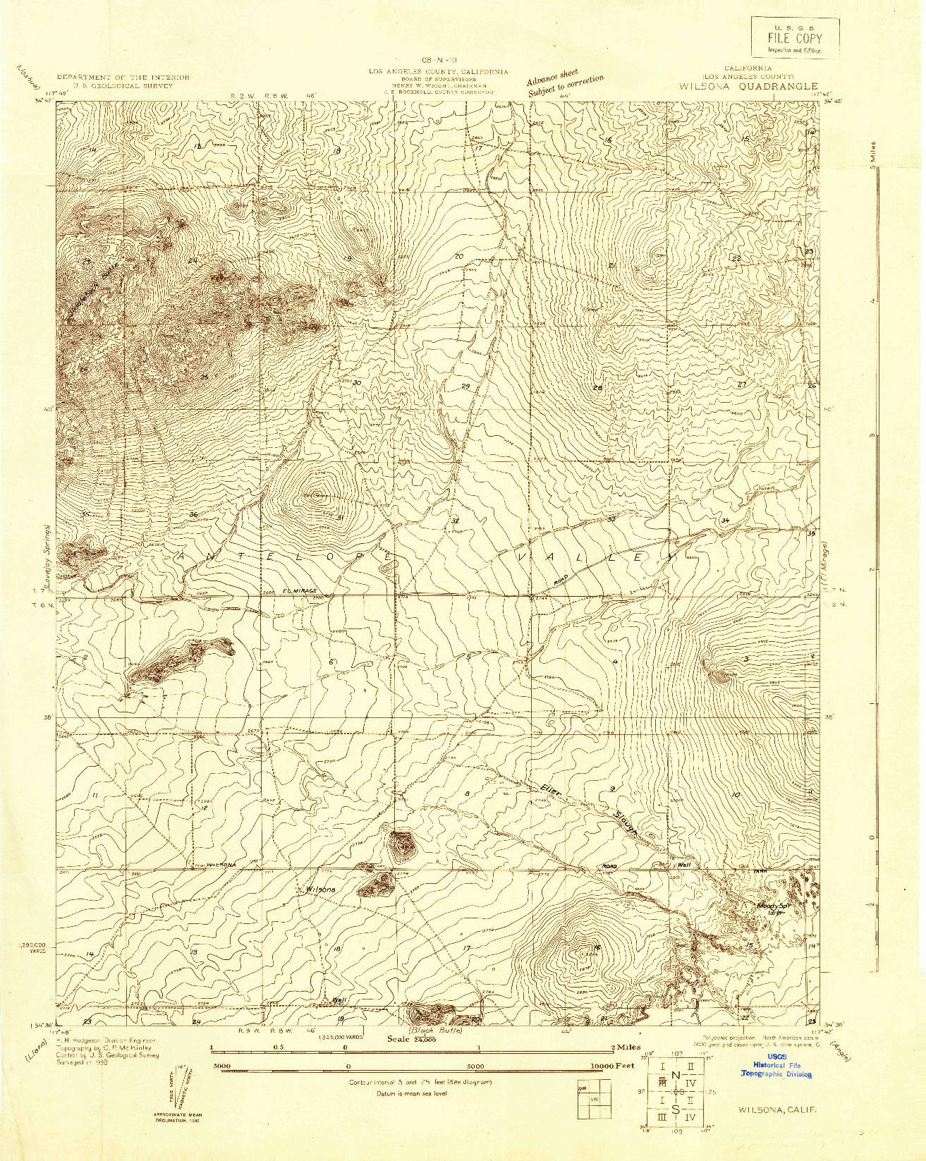 USGS 1:24000-SCALE QUADRANGLE FOR WILSONA, CA 1930