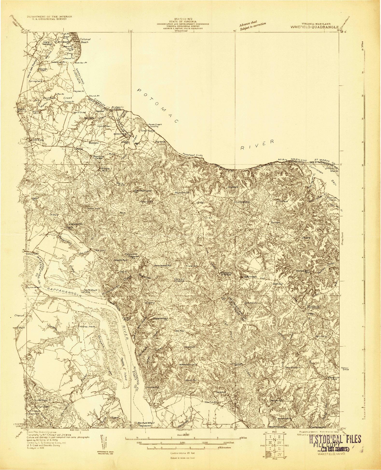 USGS 1:48000-SCALE QUADRANGLE FOR WAKEFIELD, VA 1930