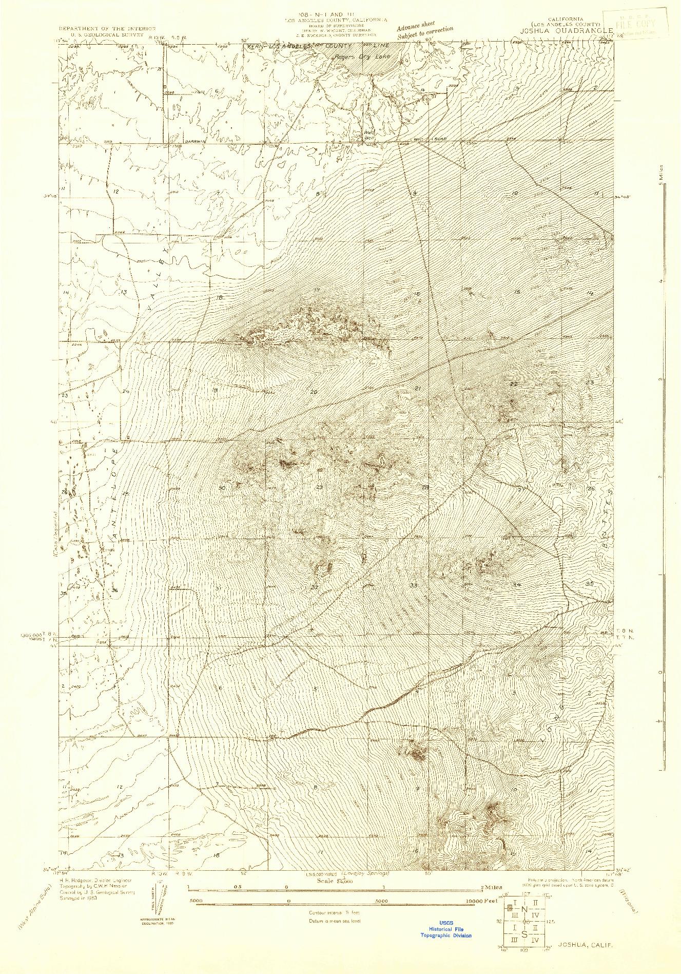 USGS 1:24000-SCALE QUADRANGLE FOR JOSHUA, CA 1930