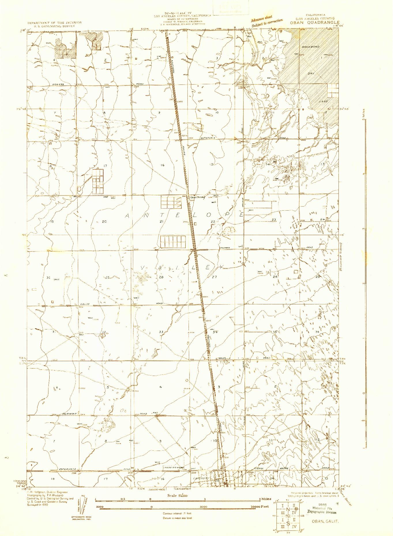USGS 1:24000-SCALE QUADRANGLE FOR OBAN, CA 1930