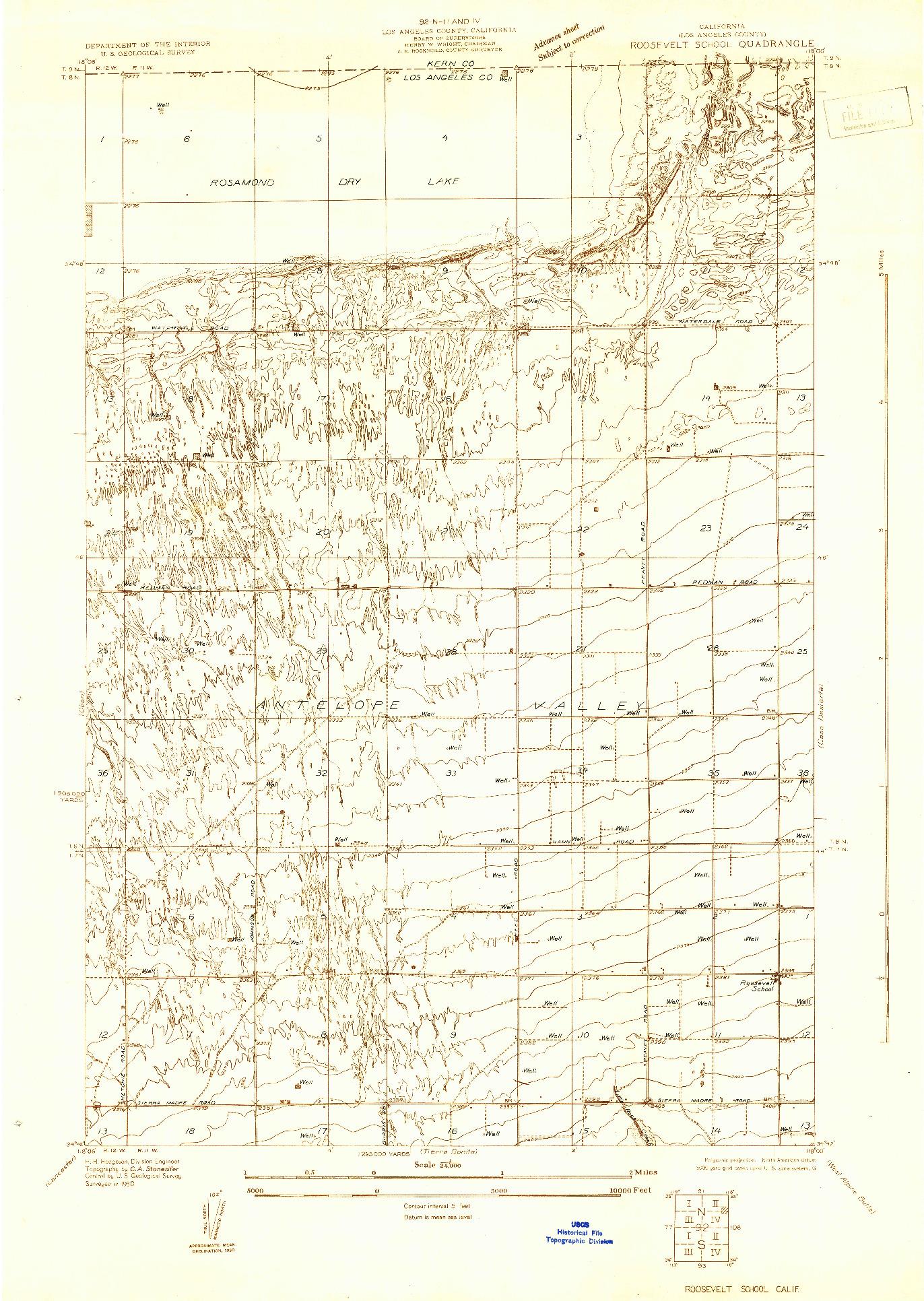 USGS 1:24000-SCALE QUADRANGLE FOR ROOSEVELT SCHOOL, CA 1930