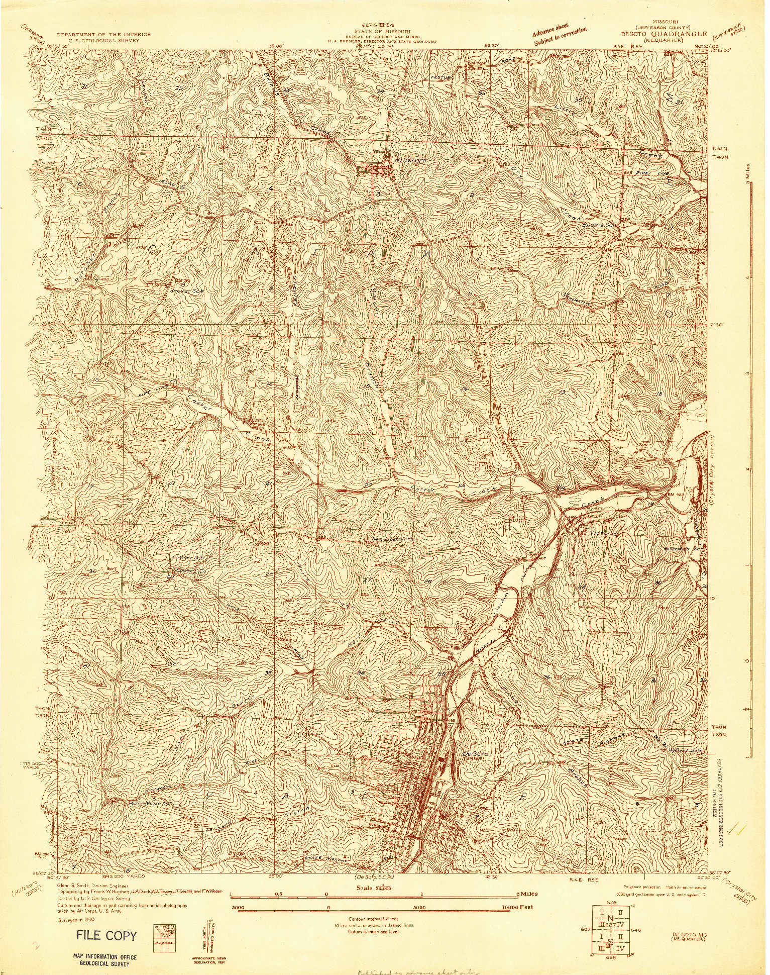 USGS 1:24000-SCALE QUADRANGLE FOR DE SOTO NE, MO 1930