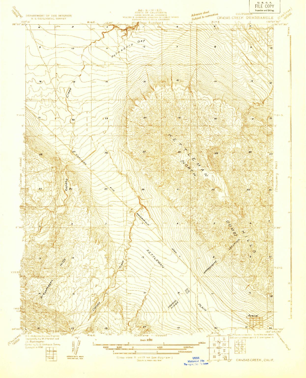 USGS 1:31680-SCALE QUADRANGLE FOR CANOAS CREEK, CA 1930