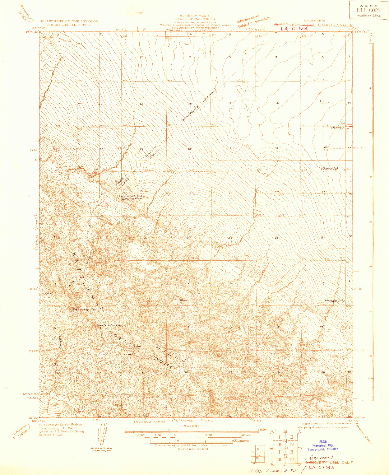 USGS 1:31680-SCALE QUADRANGLE FOR DISCOVERY WELL, CA 1930