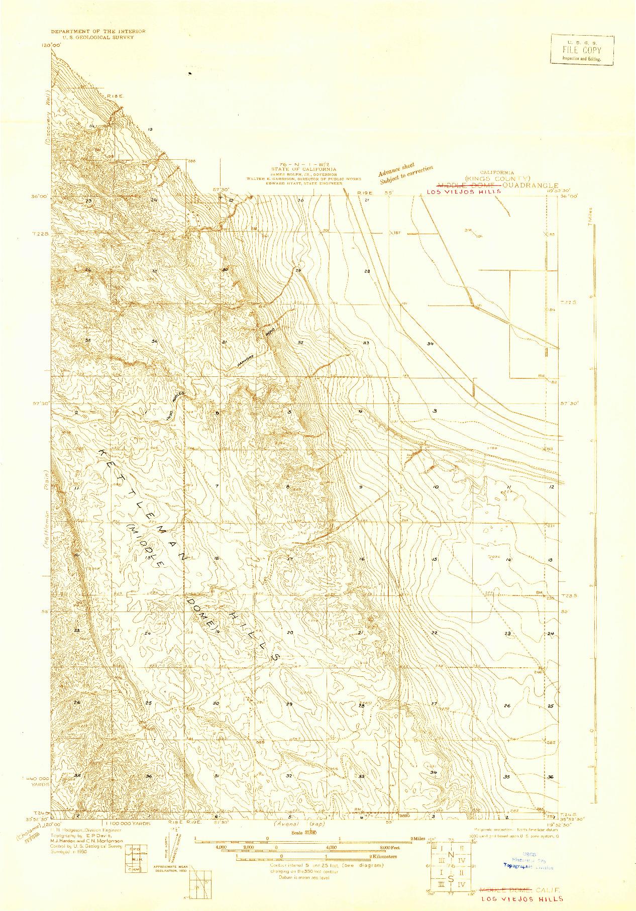 USGS 1:31680-SCALE QUADRANGLE FOR MIDDLE DOME, CA 1930