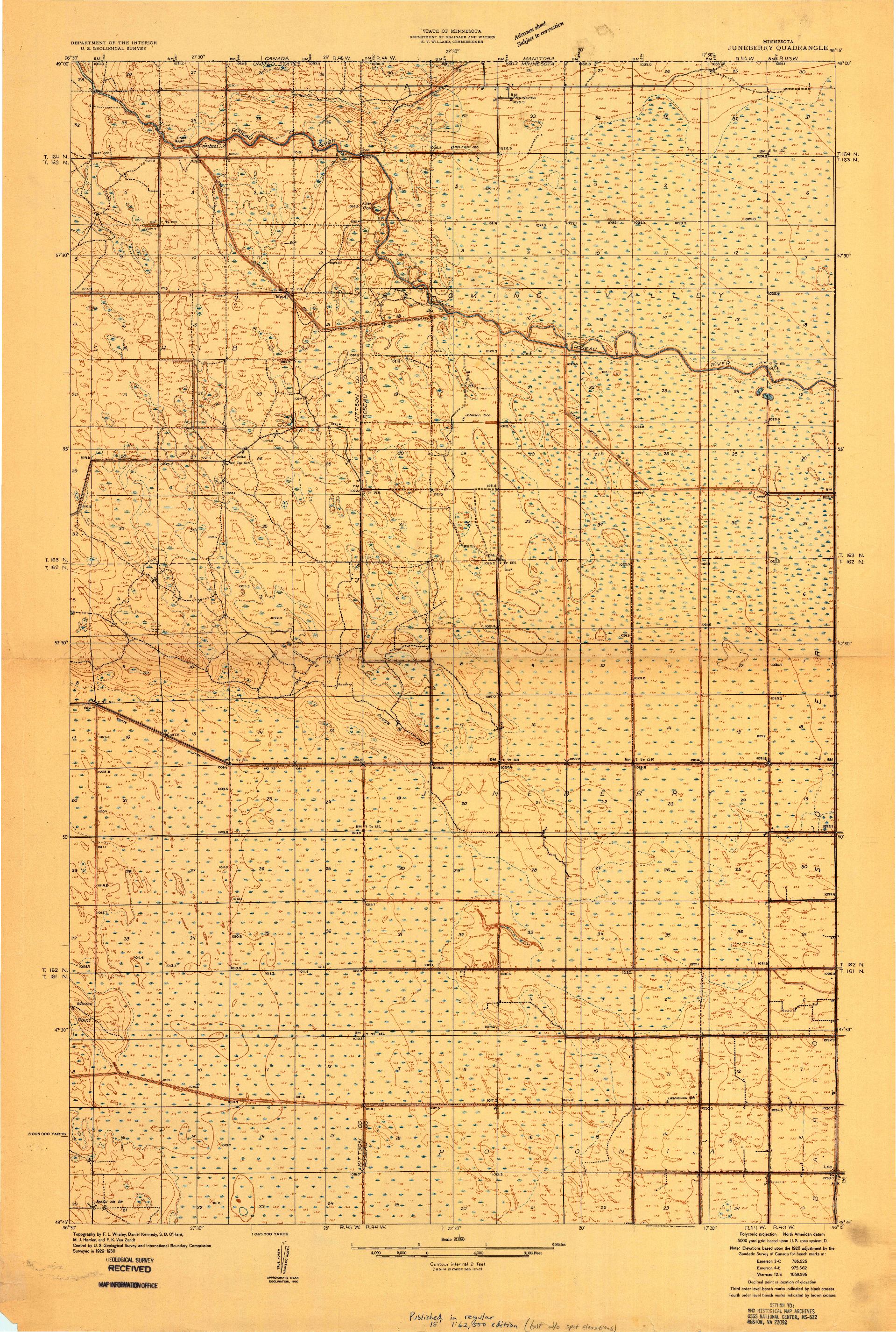 USGS 1:31680-SCALE QUADRANGLE FOR JUNEBERRY, MN 1930