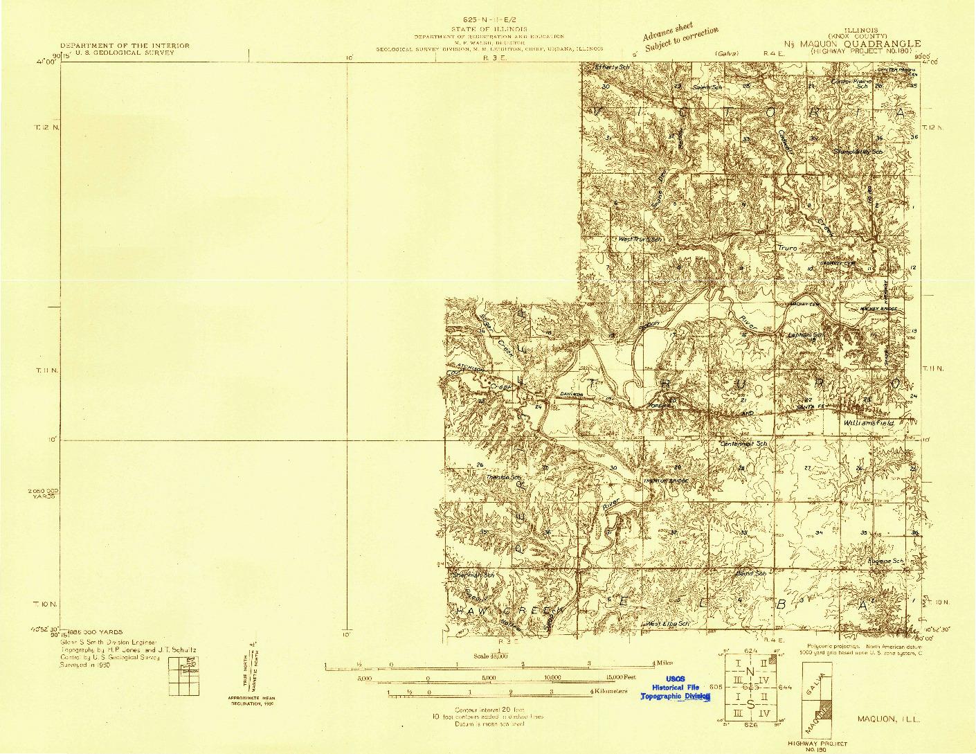 USGS 1:48000-SCALE QUADRANGLE FOR MAQUON, IL 1930
