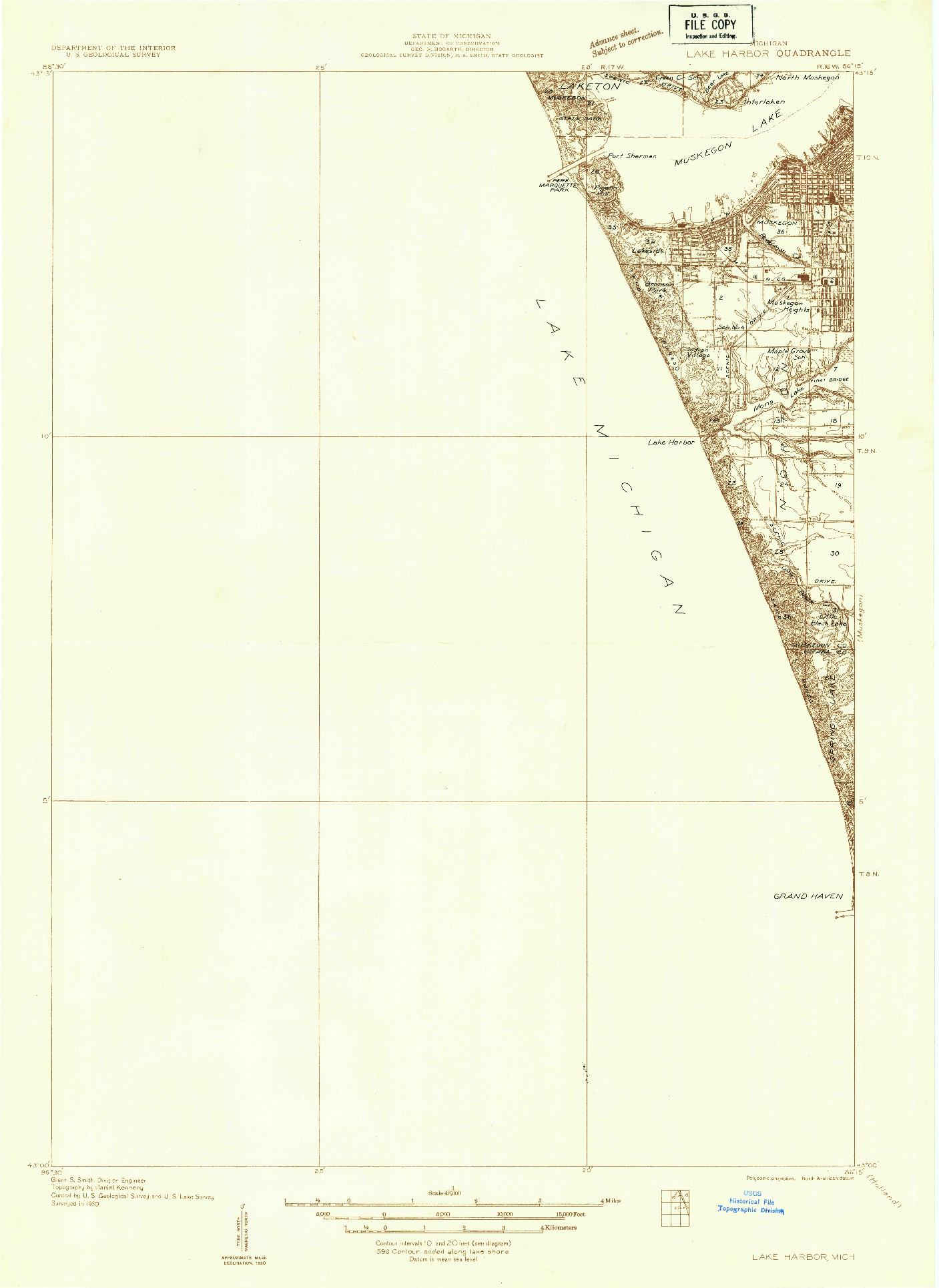 USGS 1:48000-SCALE QUADRANGLE FOR LAKE HARBOR, MI 1930