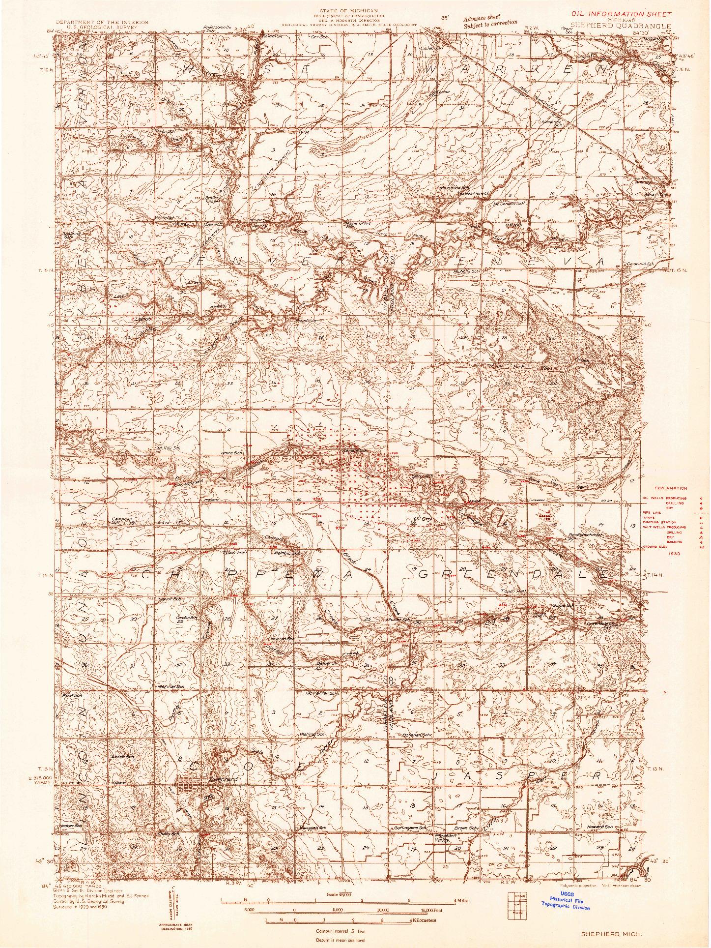 USGS 1:48000-SCALE QUADRANGLE FOR SHEPHERD, MI 1930