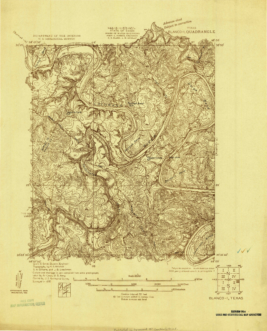 USGS 1:48000-SCALE QUADRANGLE FOR BLANCO-1, TX 1930