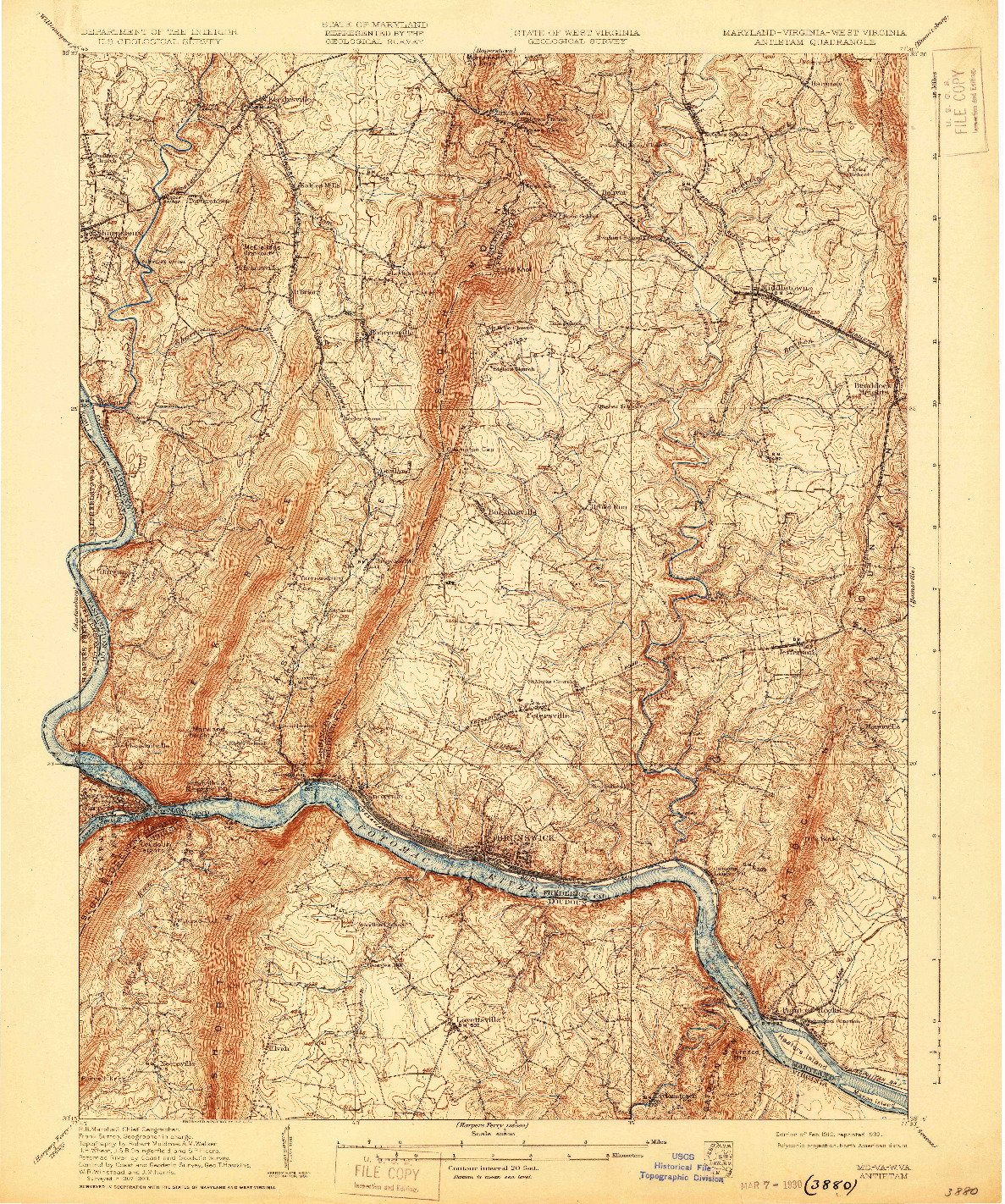USGS 1:62500-SCALE QUADRANGLE FOR ANTIETAM, MD 1910