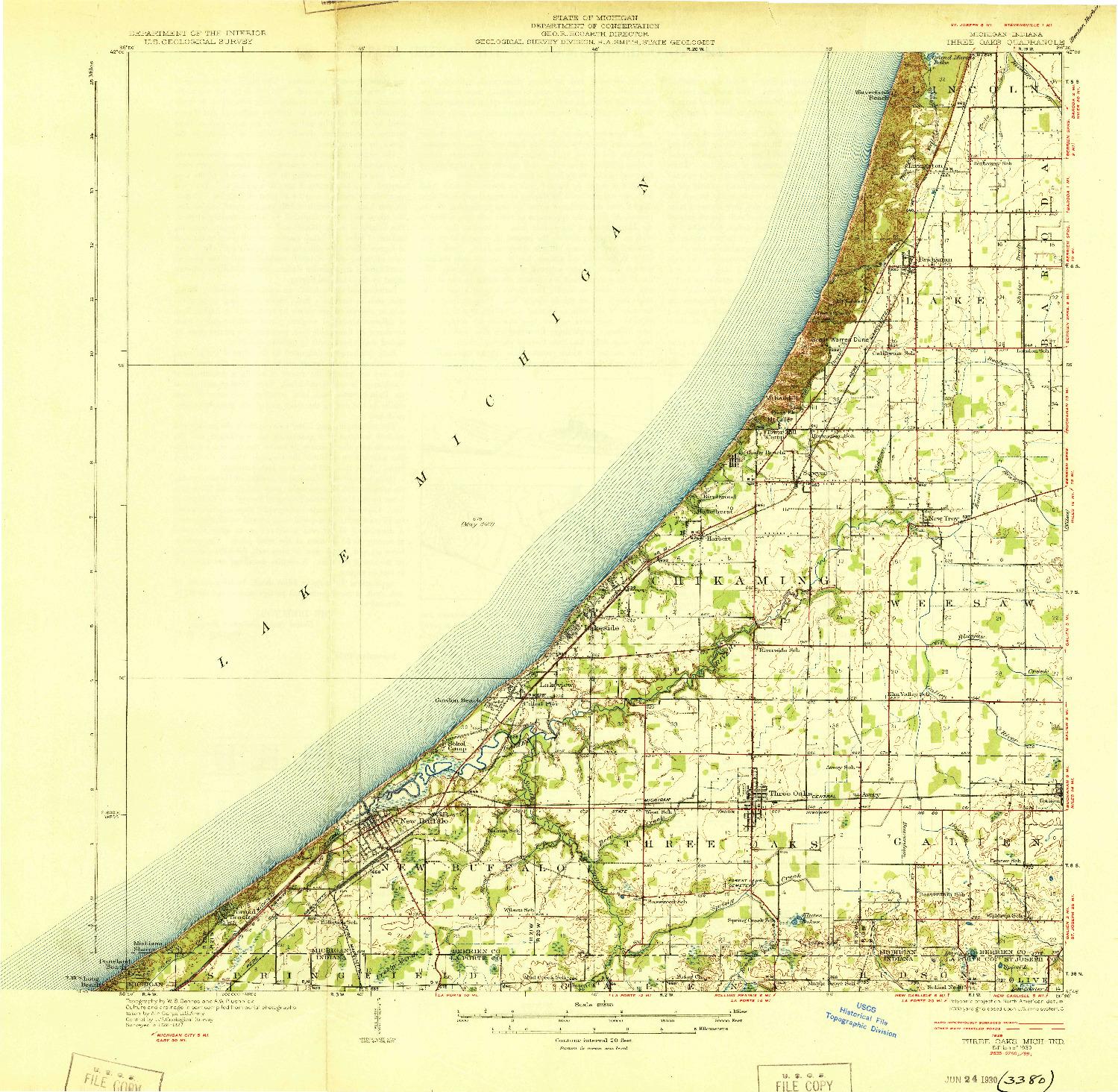 USGS 1:62500-SCALE QUADRANGLE FOR THREE OAKS, MI 1930