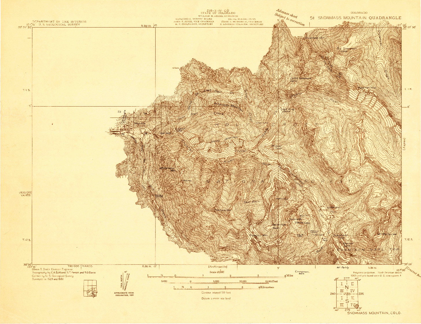USGS 1:48000-SCALE QUADRANGLE FOR SNOWMASS MOUNTAIN, CO 1930
