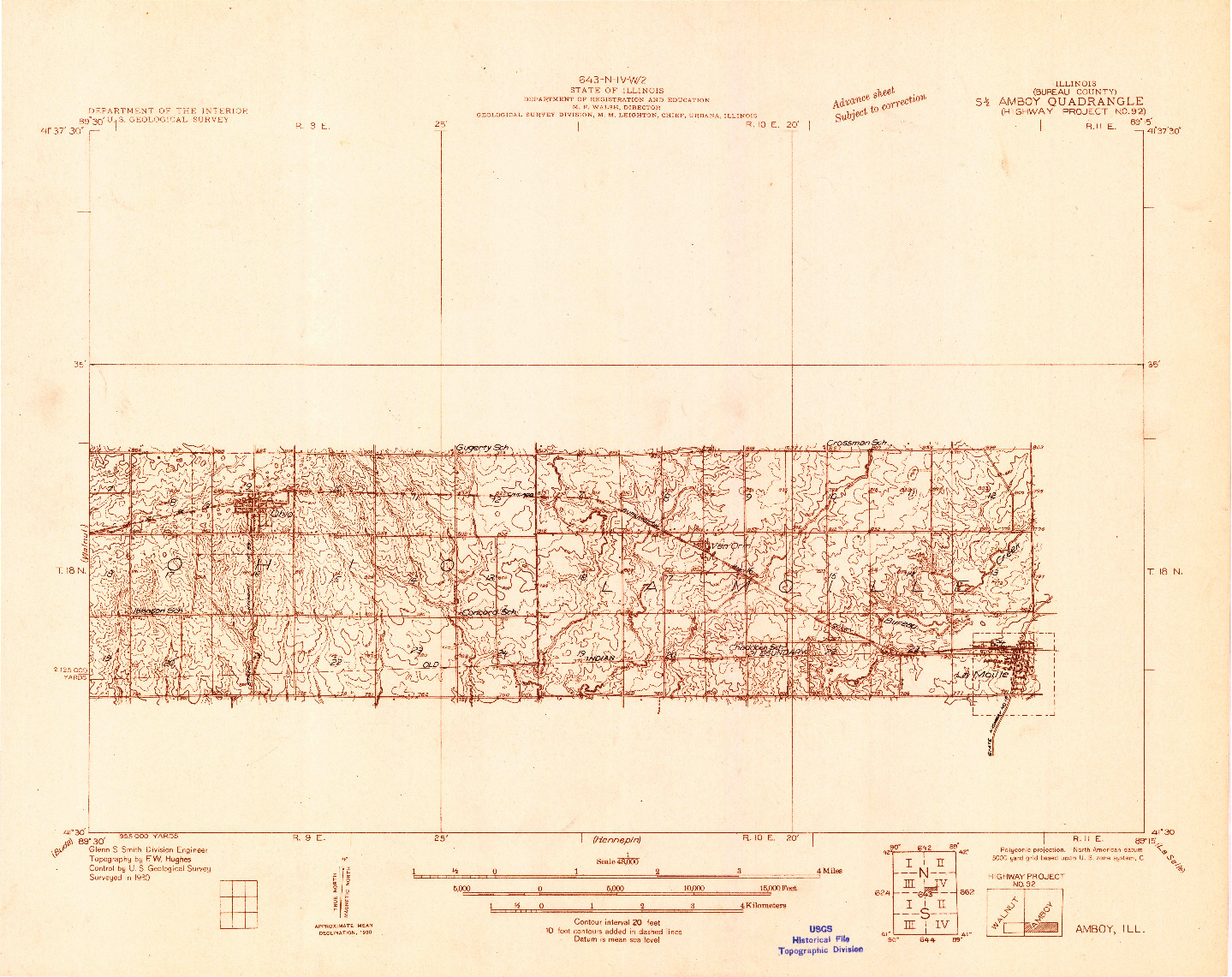 USGS 1:48000-SCALE QUADRANGLE FOR AMBOY, IL 1930