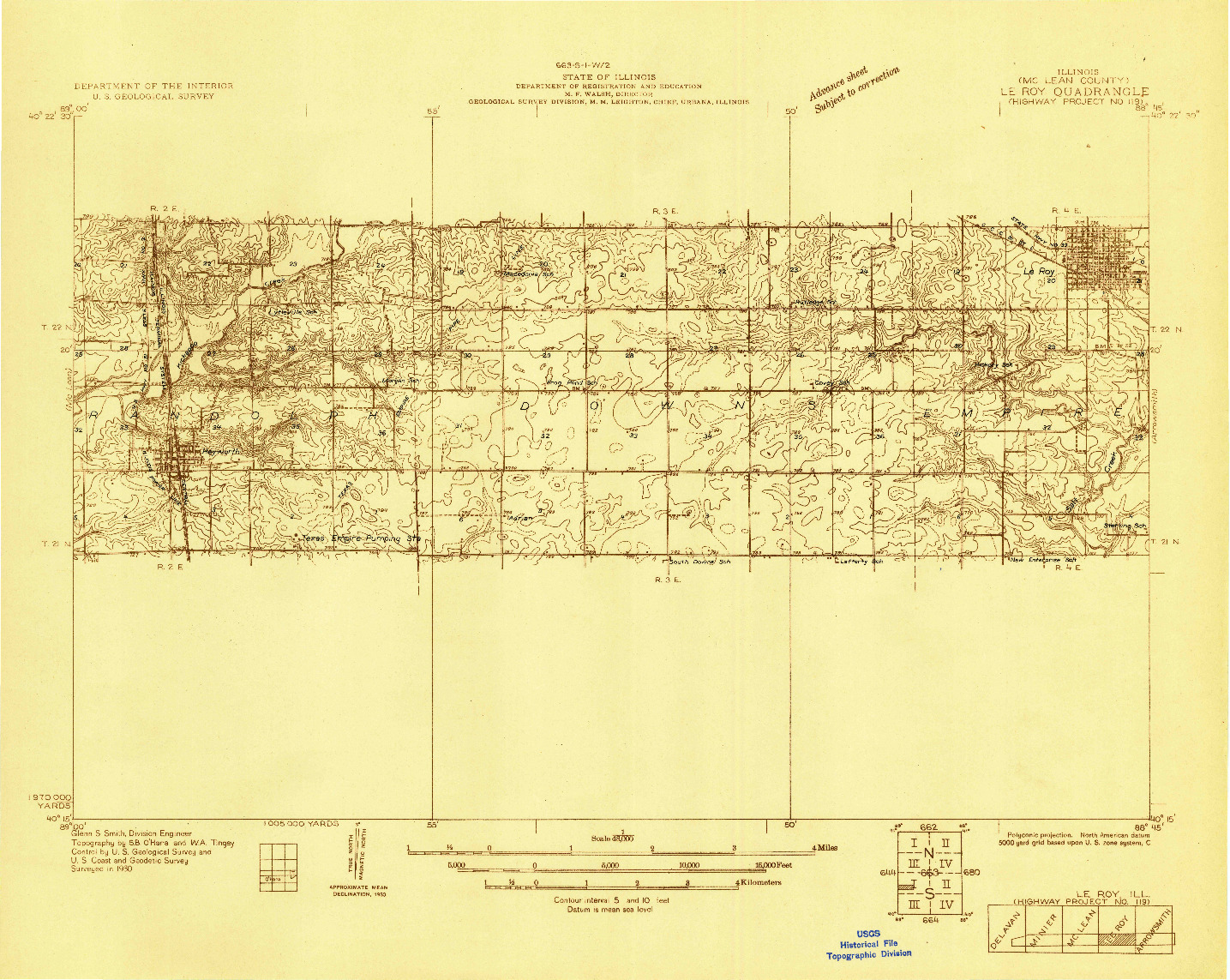 USGS 1:48000-SCALE QUADRANGLE FOR LEROY, IL 1930