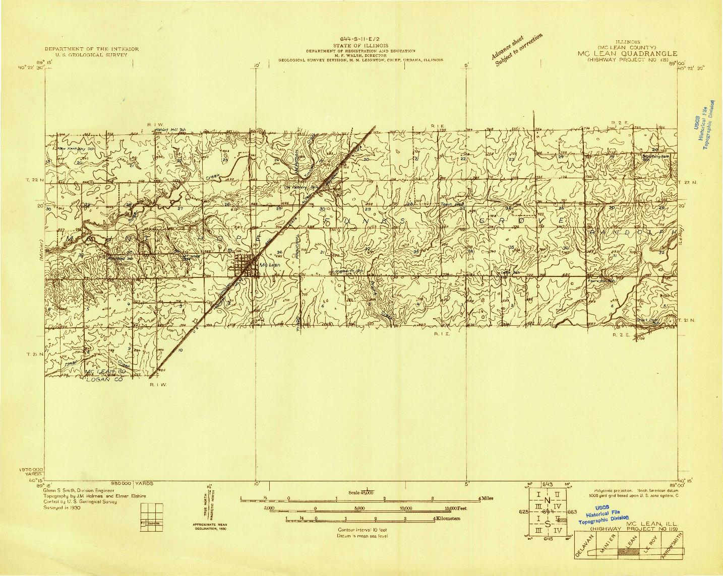 USGS 1:48000-SCALE QUADRANGLE FOR MCLEAN, IL 1930