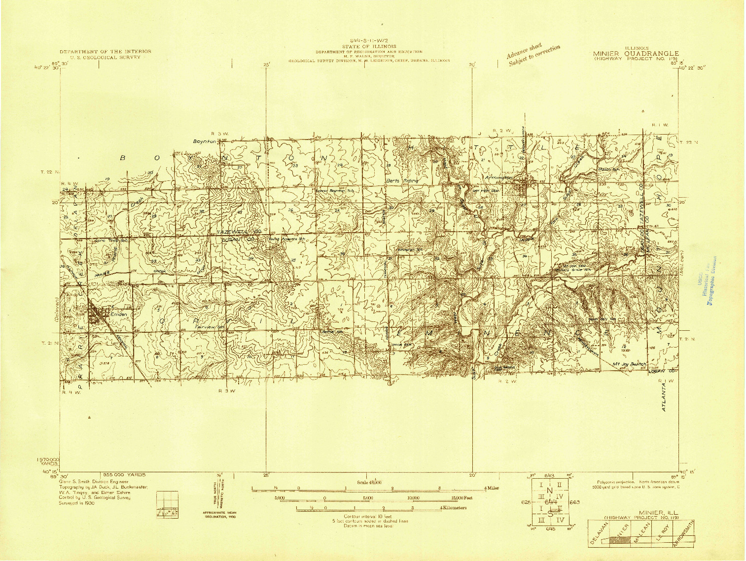 USGS 1:48000-SCALE QUADRANGLE FOR MINIER, IL 1930