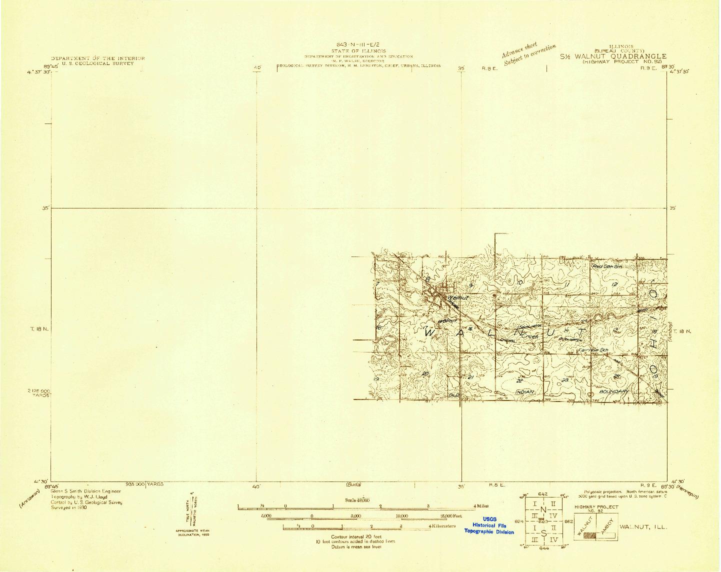 USGS 1:48000-SCALE QUADRANGLE FOR WALNUT, IL 1930