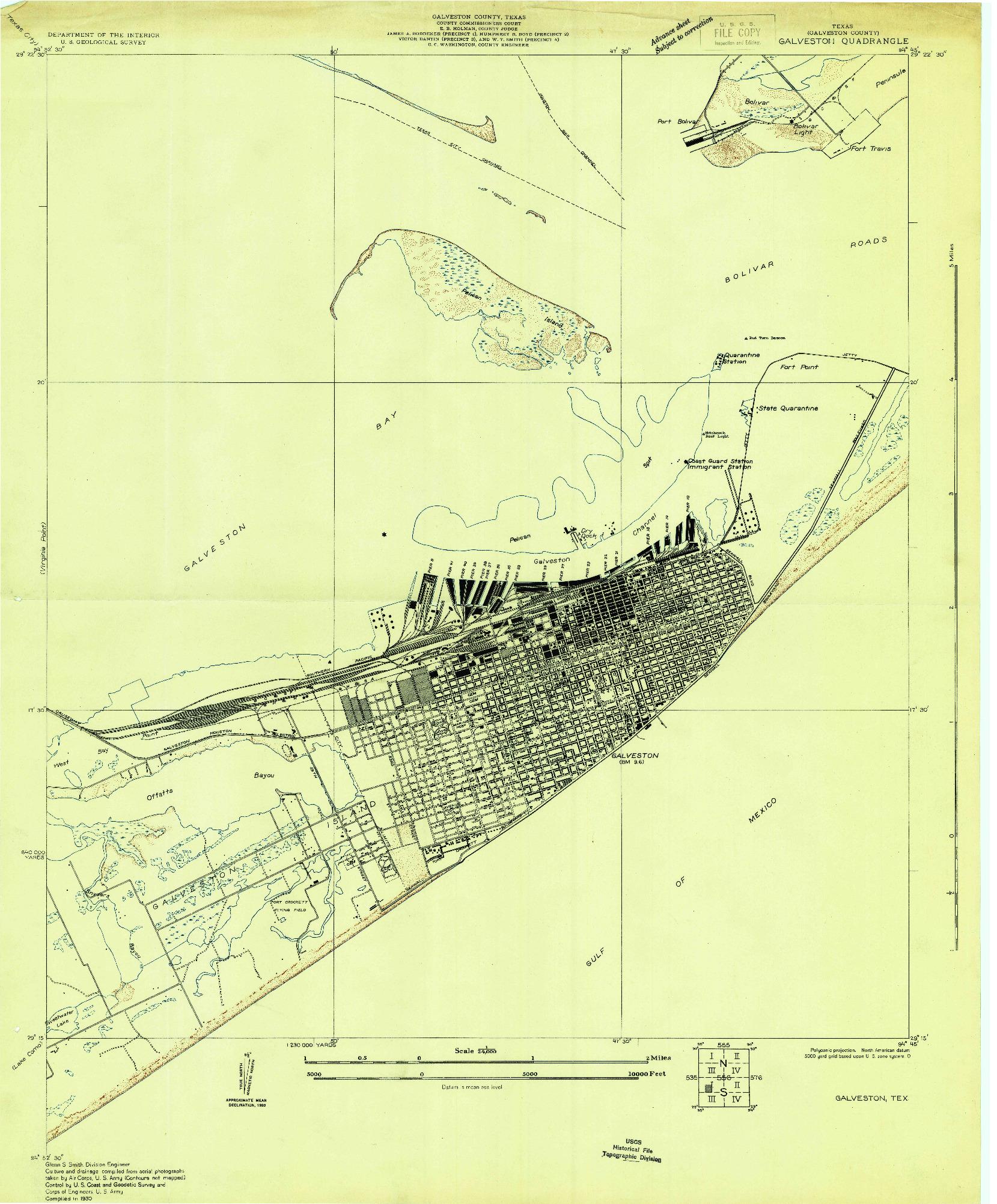 USGS 1:24000-SCALE QUADRANGLE FOR GALVESTON, TX 1930