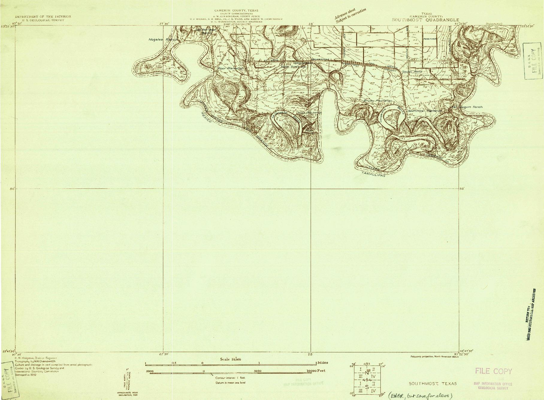 USGS 1:24000-SCALE QUADRANGLE FOR SOUTHMOST, TX 1930