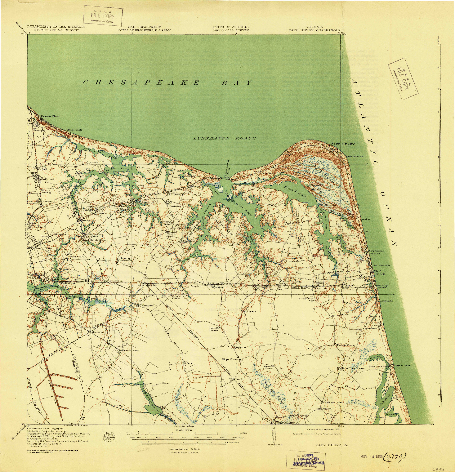 USGS 1:62500-SCALE QUADRANGLE FOR CAPE HENRY, VA 1919