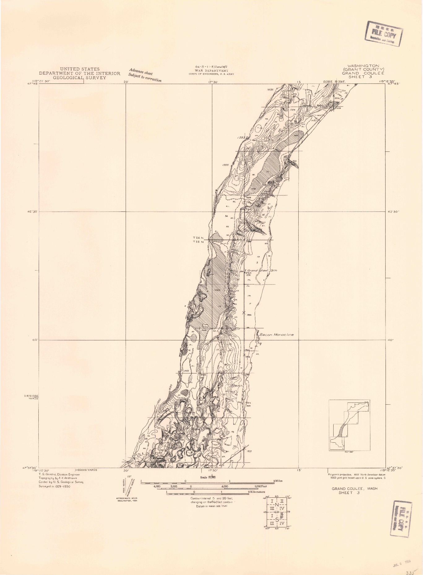 USGS 1:31680-SCALE QUADRANGLE FOR GRAND COULEE SHEET 3, WA 1930