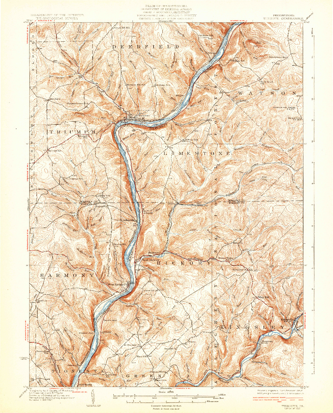 USGS 1:62500-SCALE QUADRANGLE FOR TIDIOUTE, PA 1930
