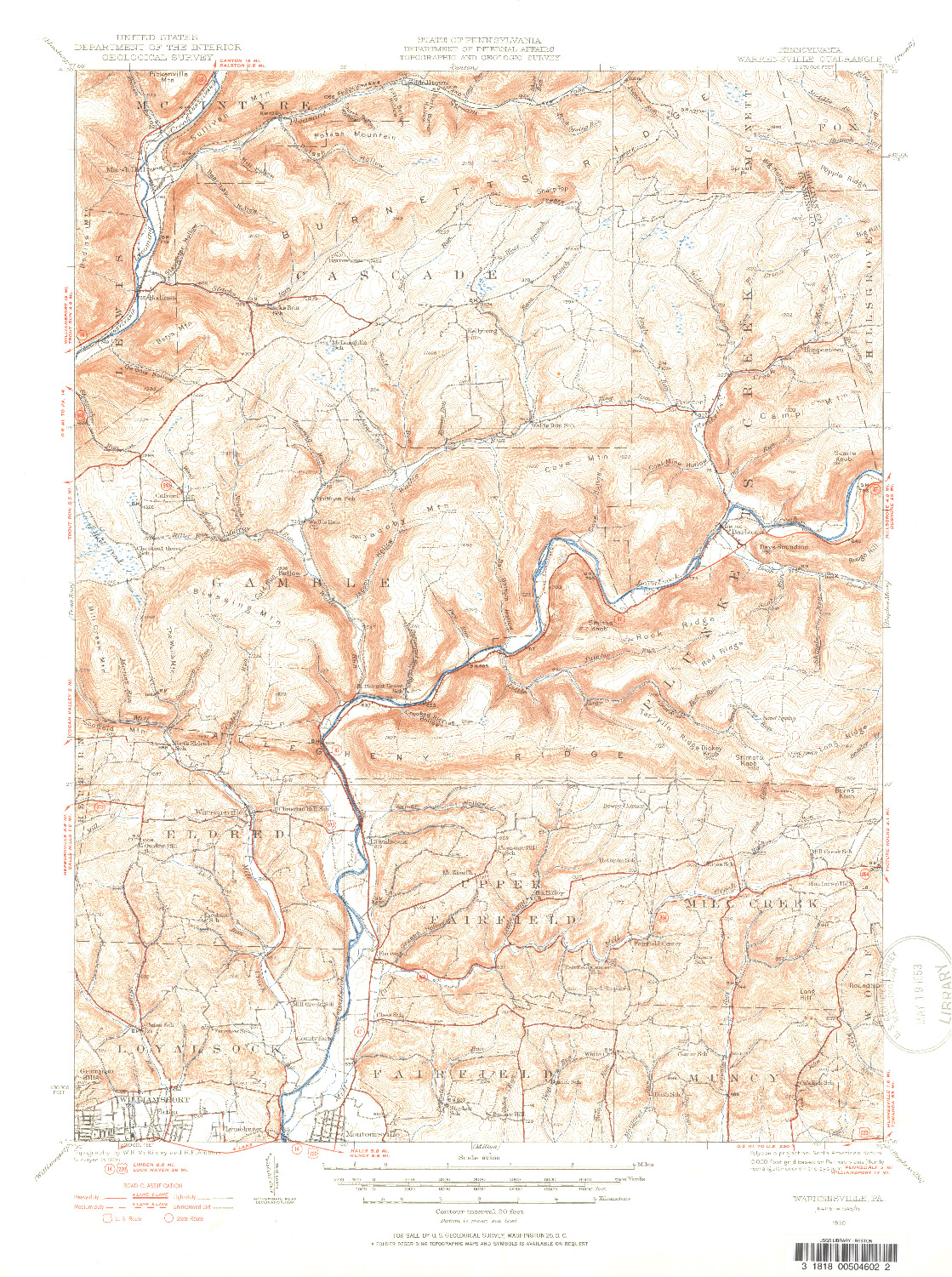 USGS 1:62500-SCALE QUADRANGLE FOR WARRENSVILLE, PA 1930