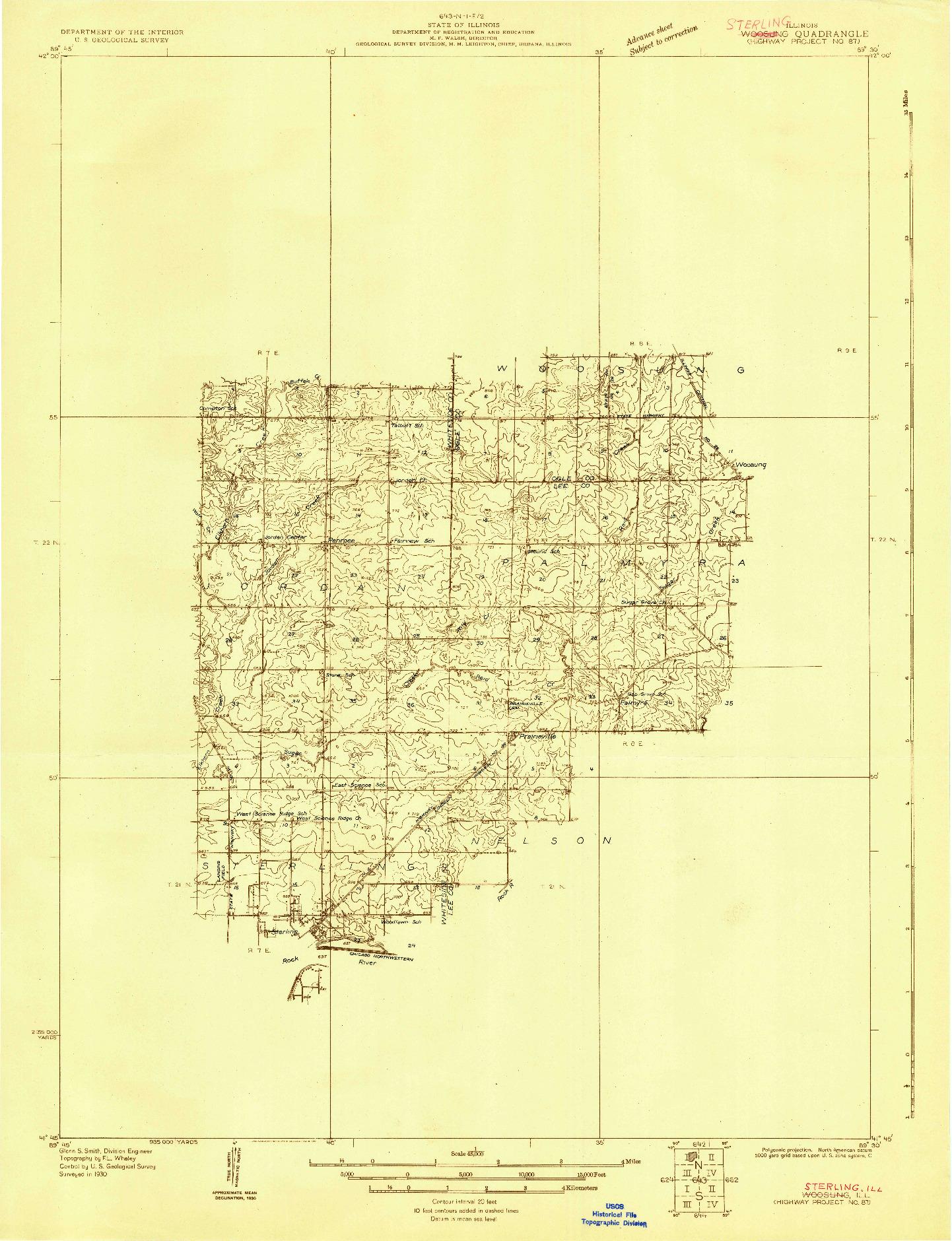 USGS 1:48000-SCALE QUADRANGLE FOR WOODSUNG, IL 1930