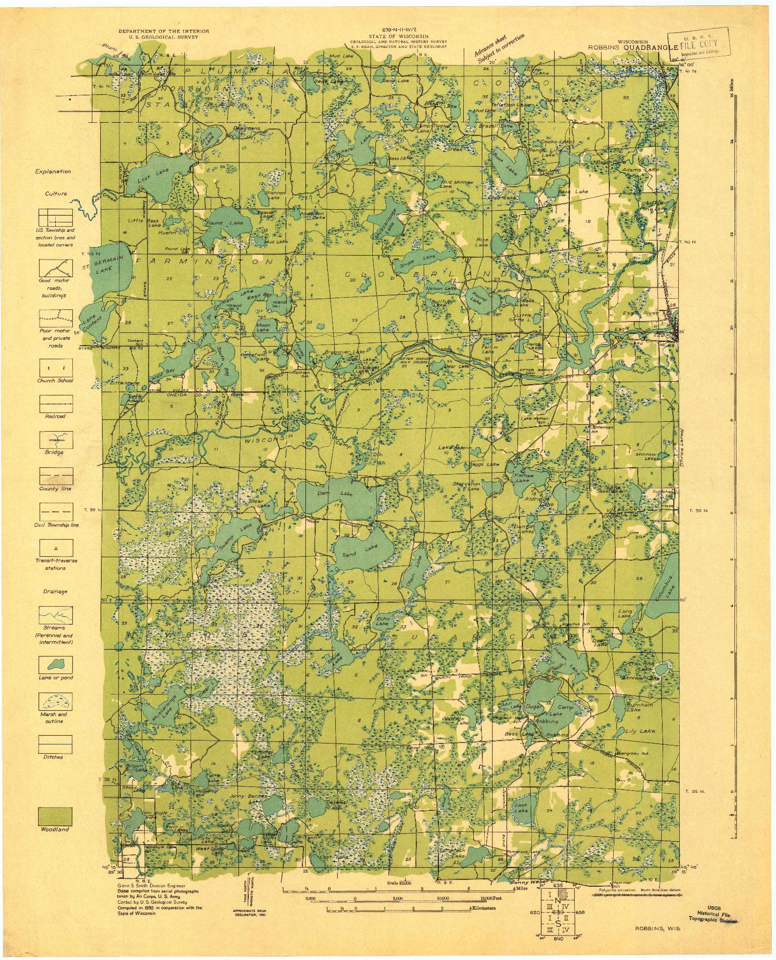 USGS 1:48000-SCALE QUADRANGLE FOR ROBBINS, WI 1930