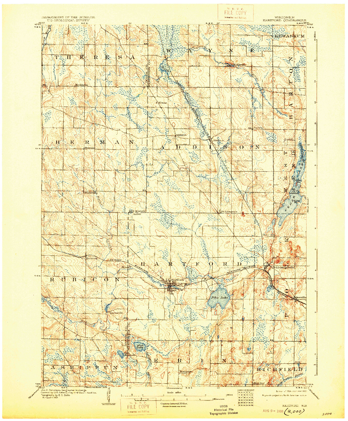USGS 1:62500-SCALE QUADRANGLE FOR HARTFORD, WI 1904