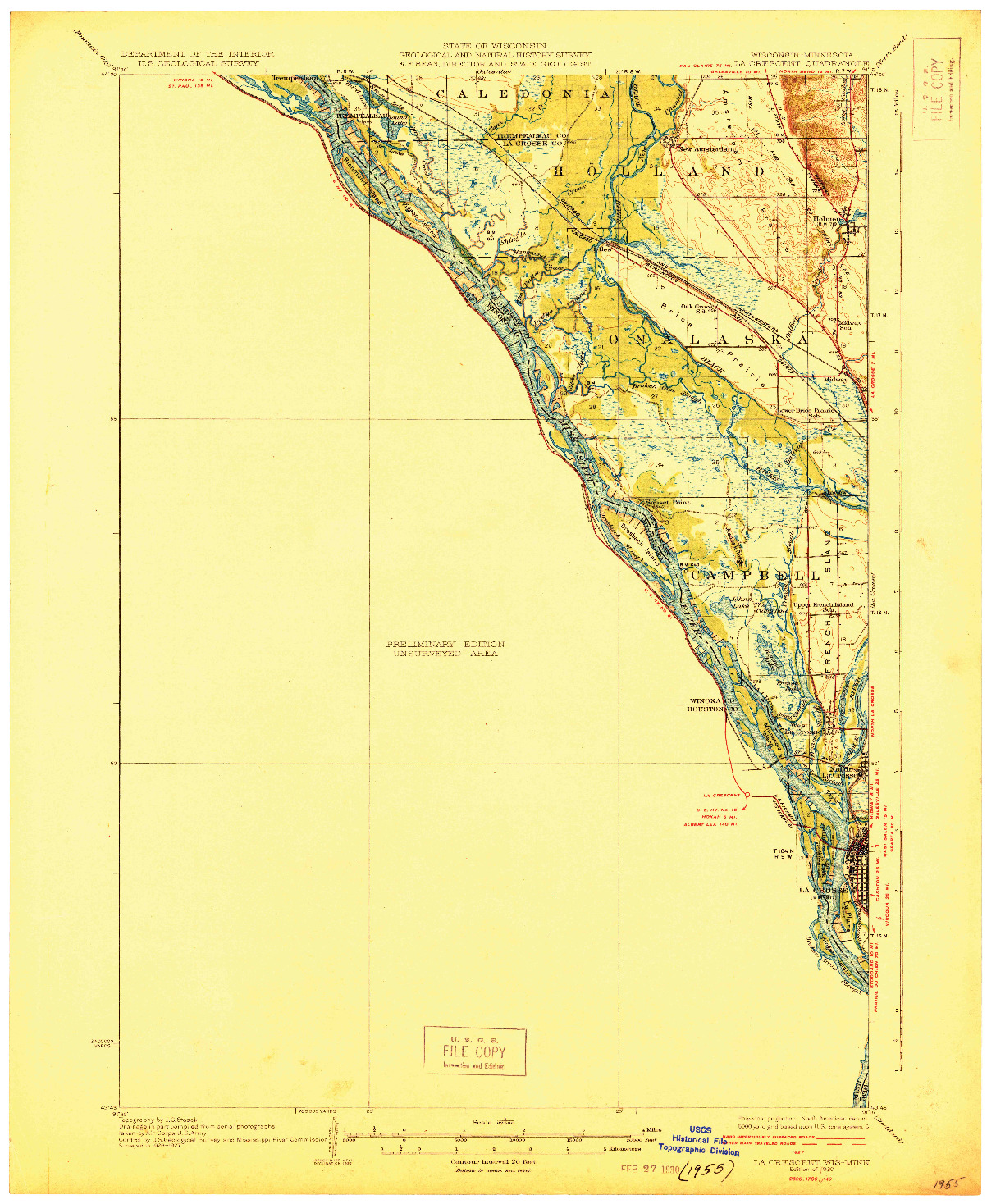 USGS 1:62500-SCALE QUADRANGLE FOR LA CRESCENT, WI 1930