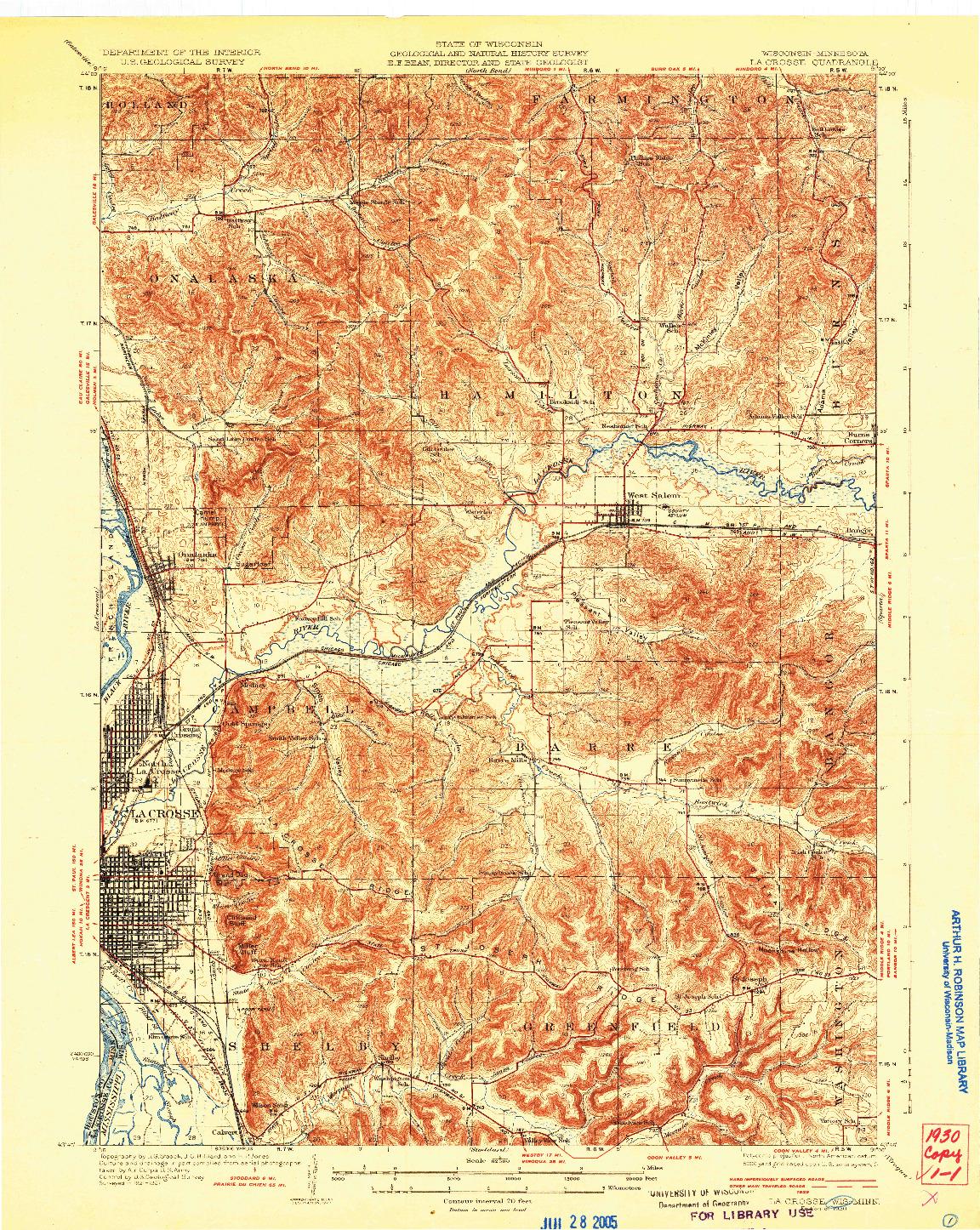 USGS 1:62500-SCALE QUADRANGLE FOR LA CROSSE, WI 1930