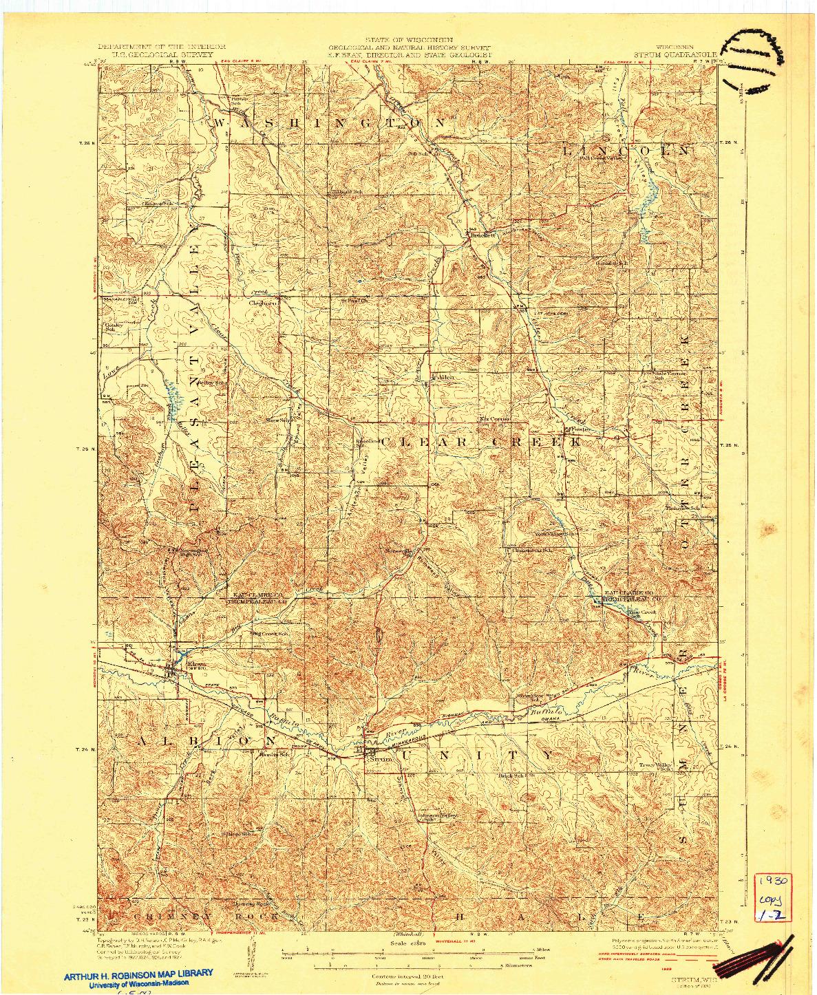 USGS 1:62500-SCALE QUADRANGLE FOR STRUM, WI 1930