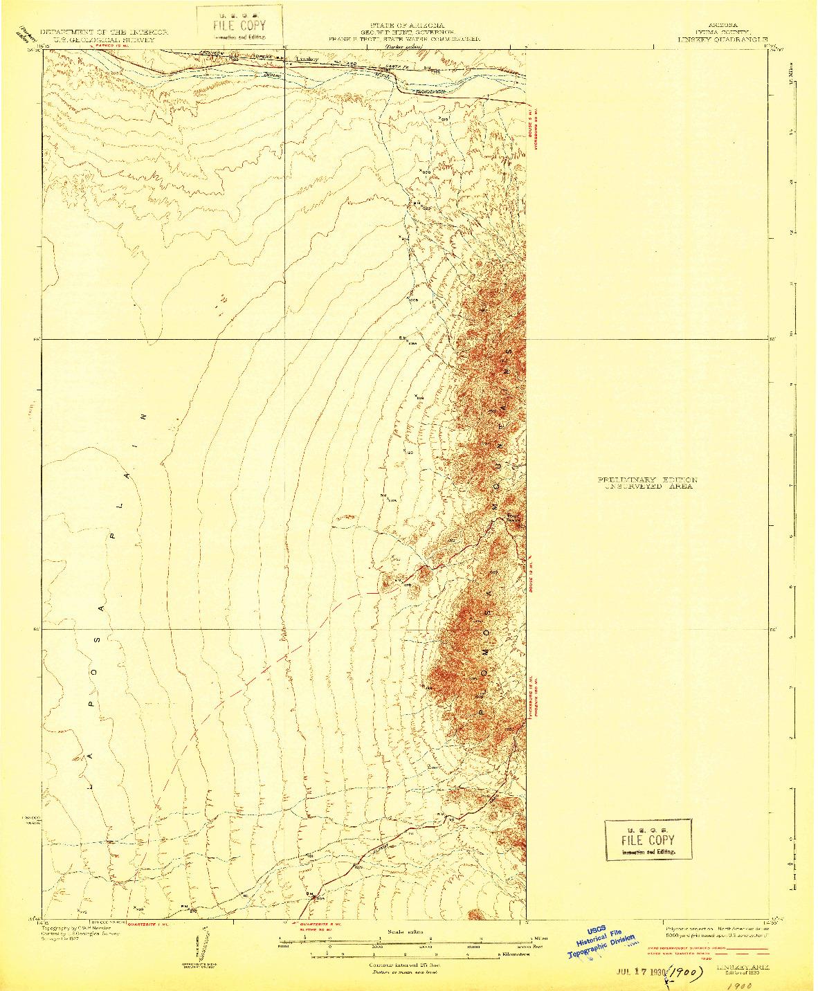 USGS 1:62500-SCALE QUADRANGLE FOR LINSKEY, AZ 1930